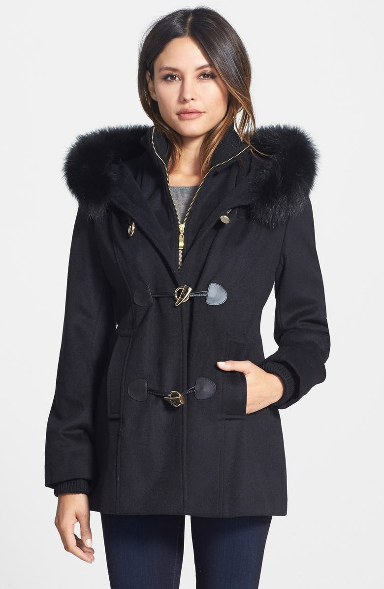 70cacc62521 GEORGE SIMONTON Wool Blend Duffle Coat with Inset Bib and Genuine Fox Fur  Trim