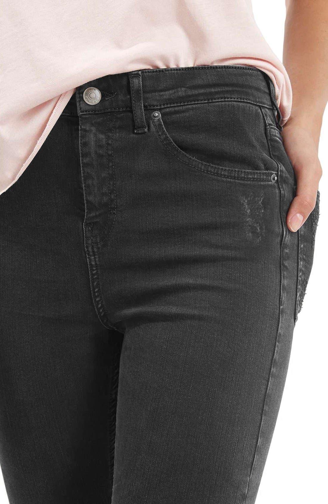 Jamie Shredded High Waist Skinny Jeans,                             Alternate thumbnail 3, color,                             001