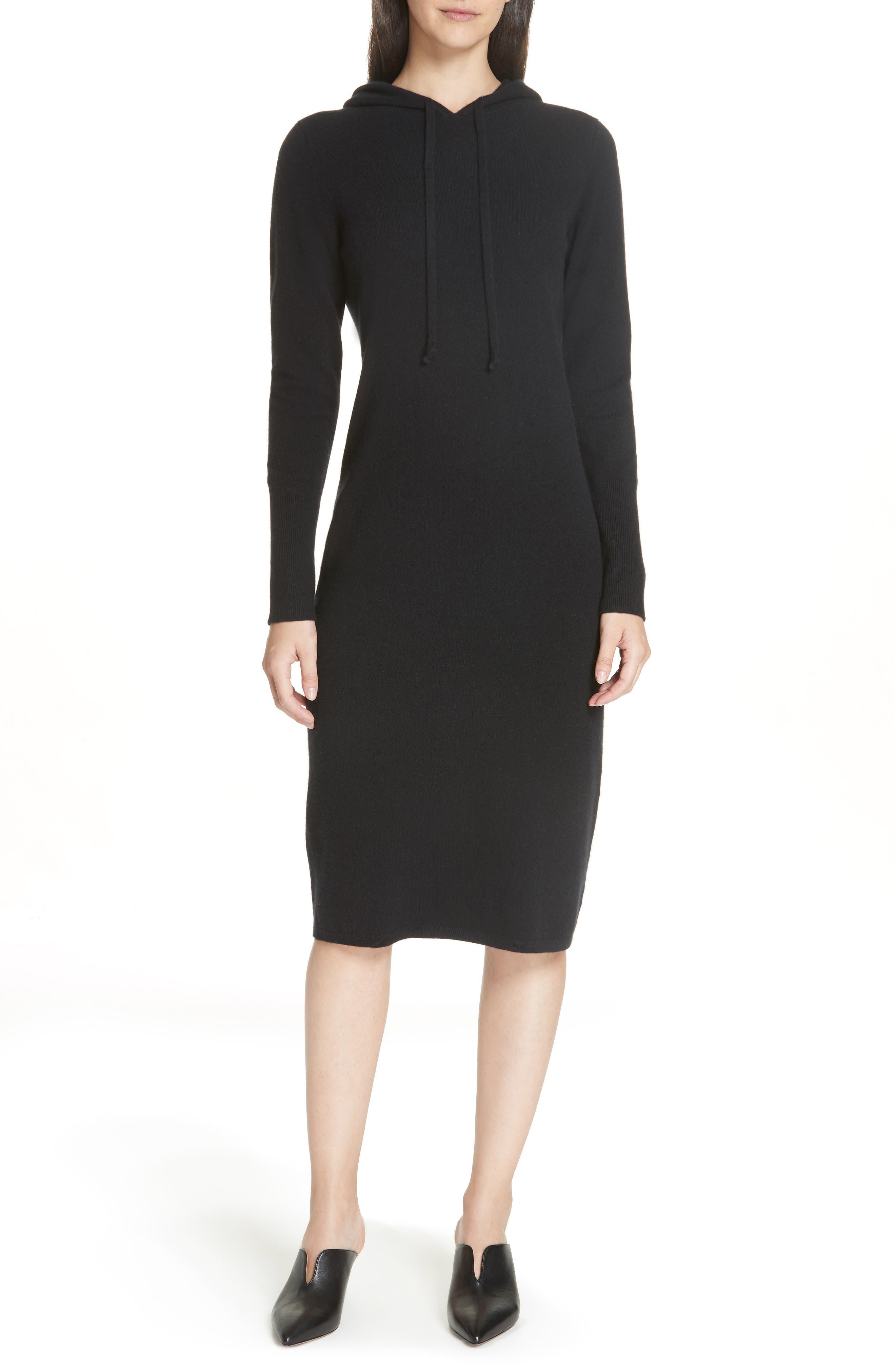 Cashmere Blend Hoodie Dress,                         Main,                         color, BLACK