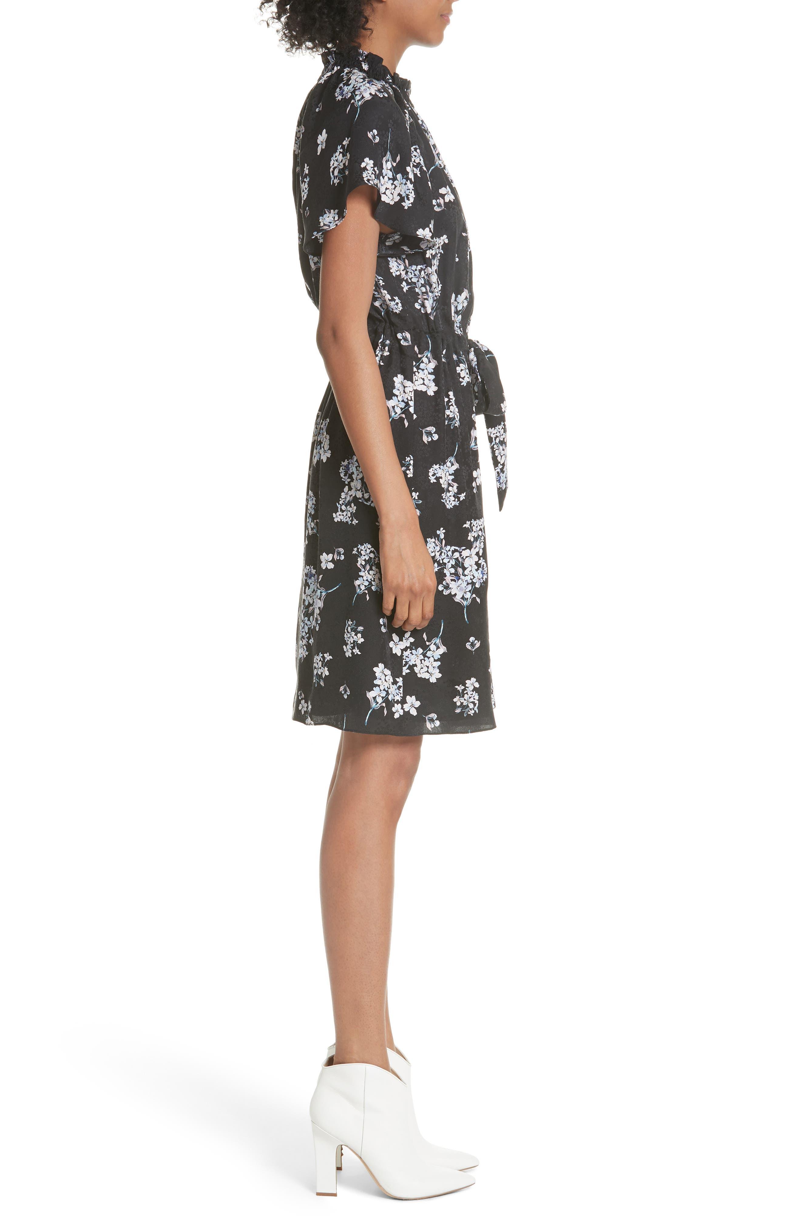 Hydrangea Silk Dress,                             Alternate thumbnail 3, color,                             014