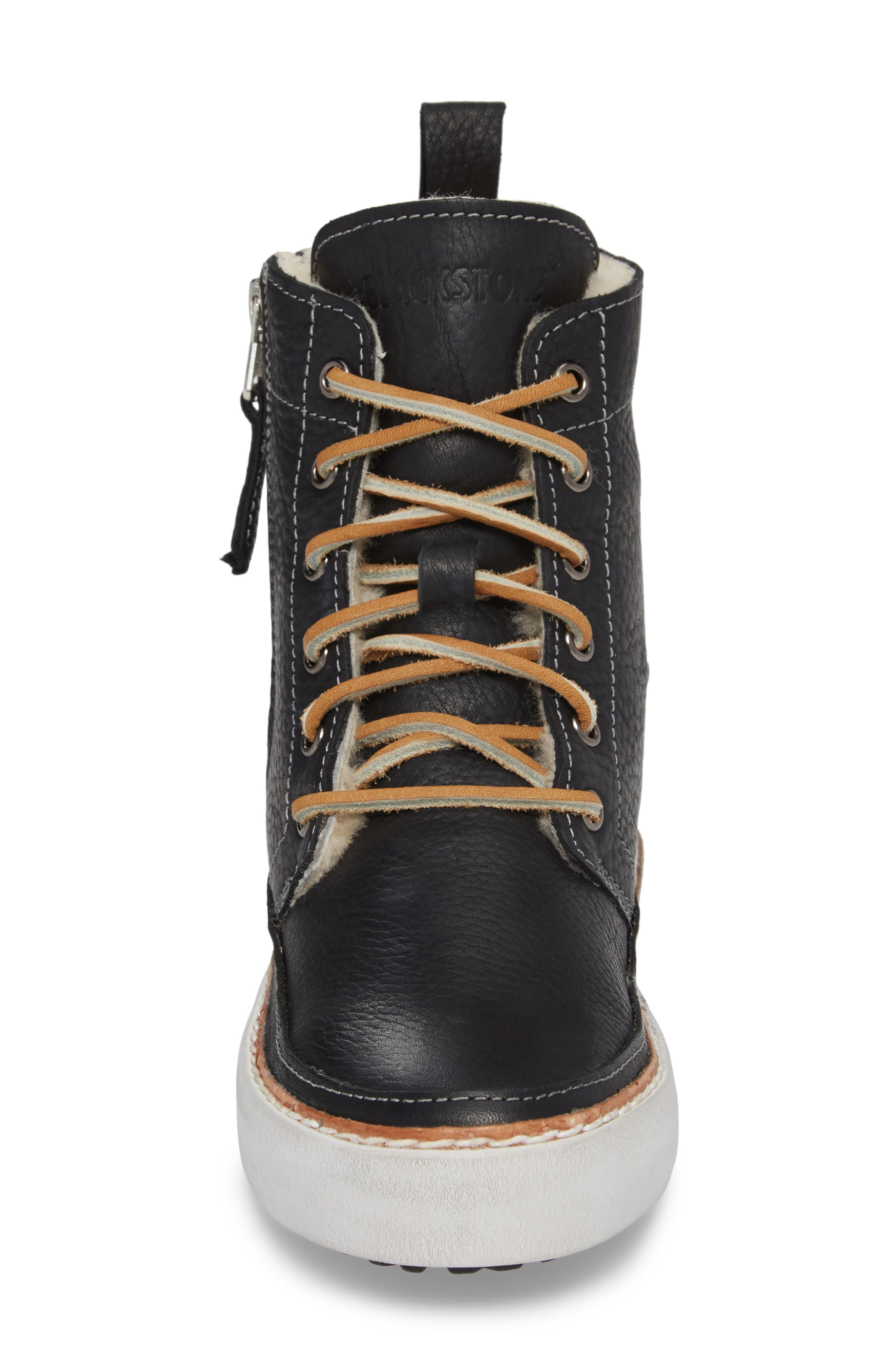 'CW96' Genuine Shearling Lined Sneaker Boot,                             Alternate thumbnail 4, color,                             BLACK LEATHER