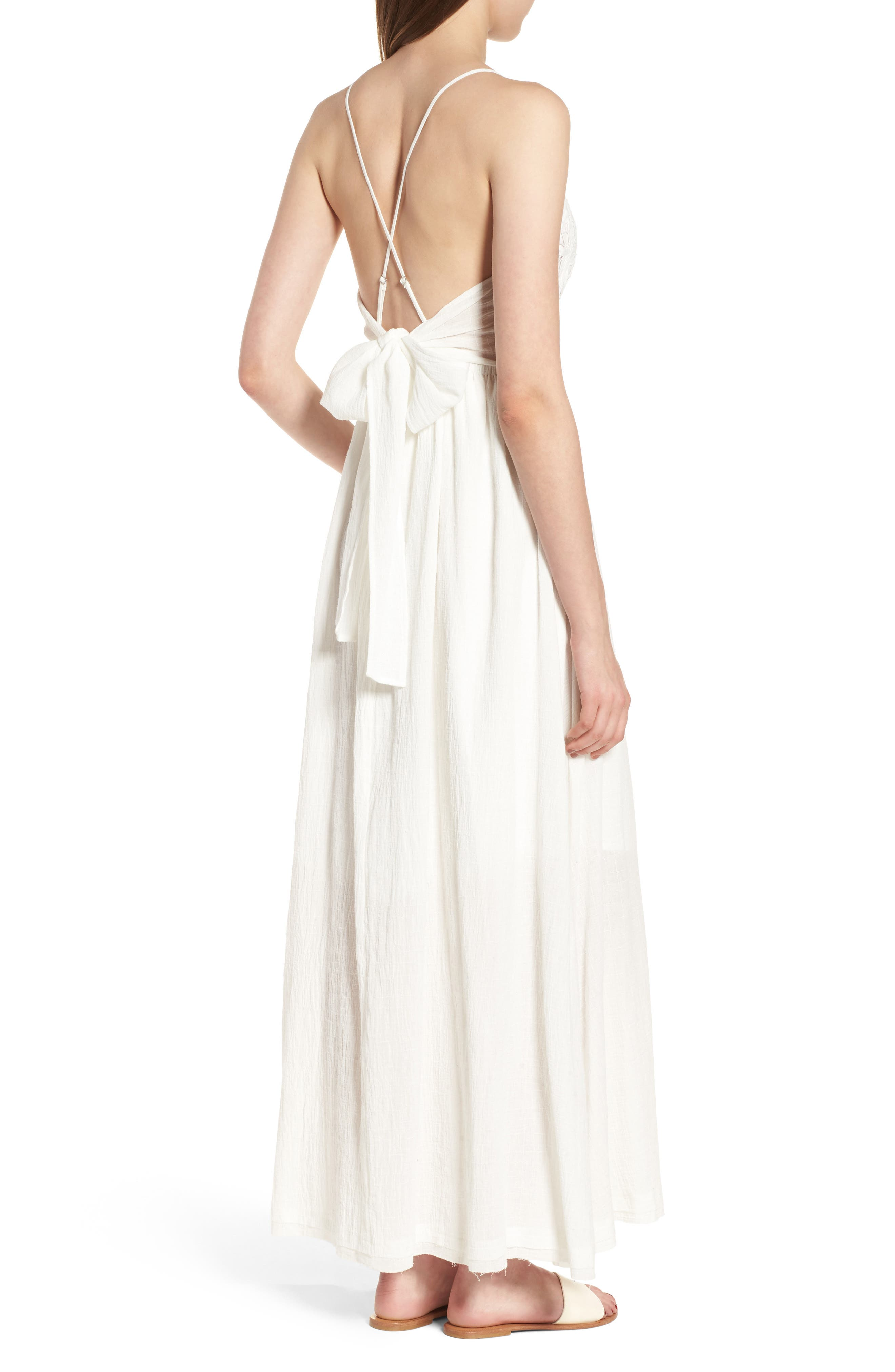 Lace Inset Empire Waist Maxi Dress,                             Alternate thumbnail 2, color,                             100