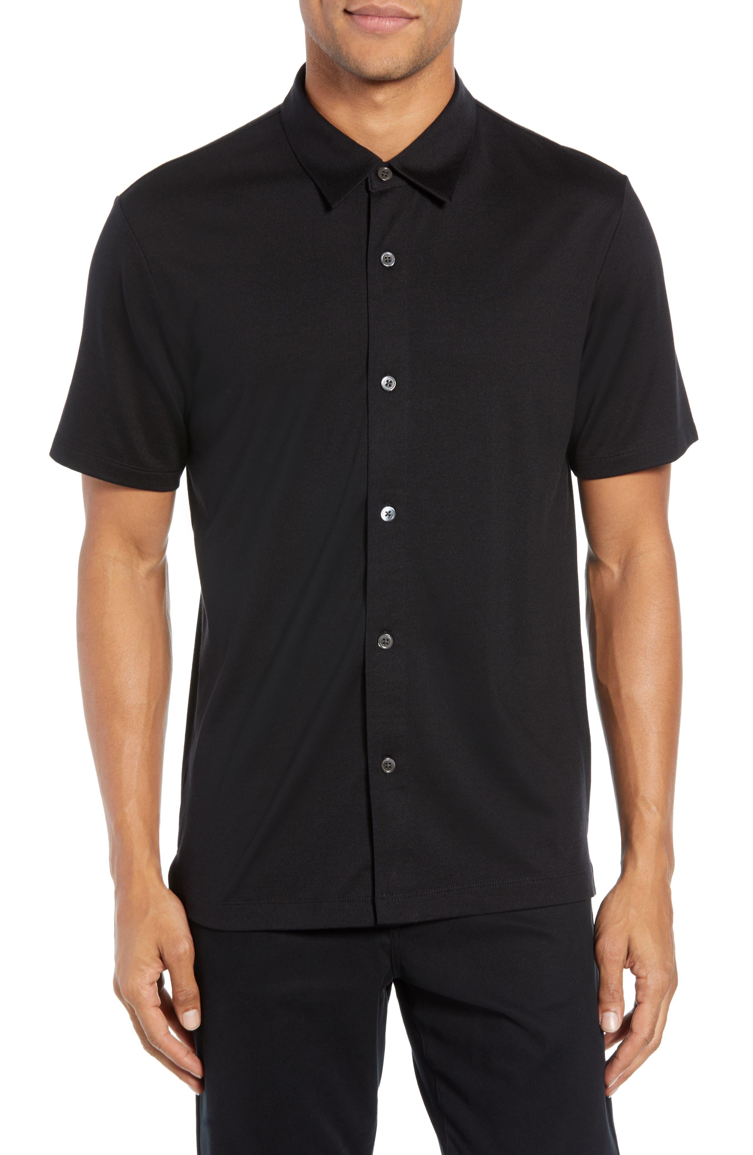 Incisi Slim Fit Knit Silk Blend Shirt,                             Main thumbnail 1, color,                             BLACK