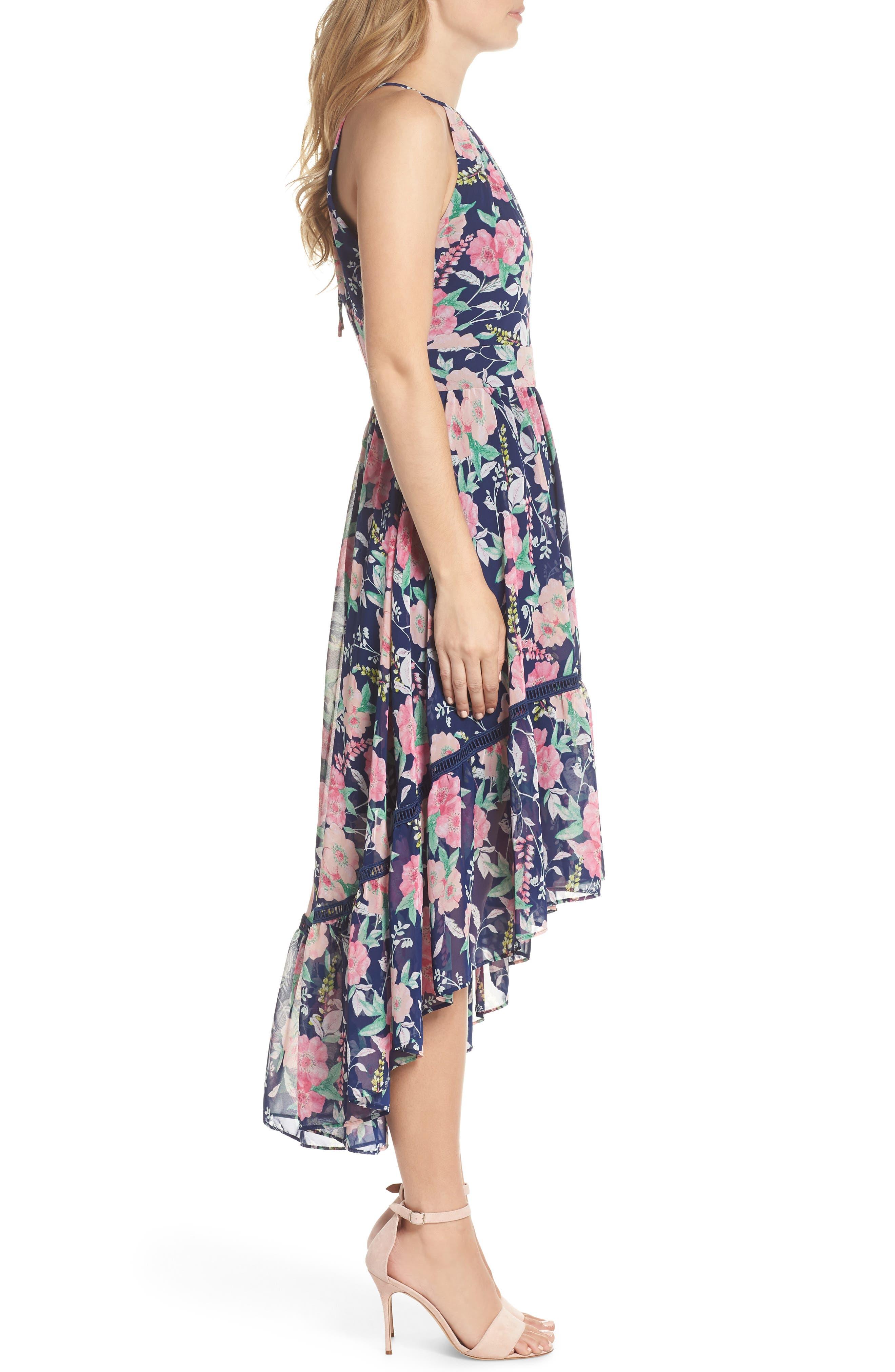 Halter Neck Fit & Flare Dress,                             Alternate thumbnail 3, color,                             NAVY/ PINK
