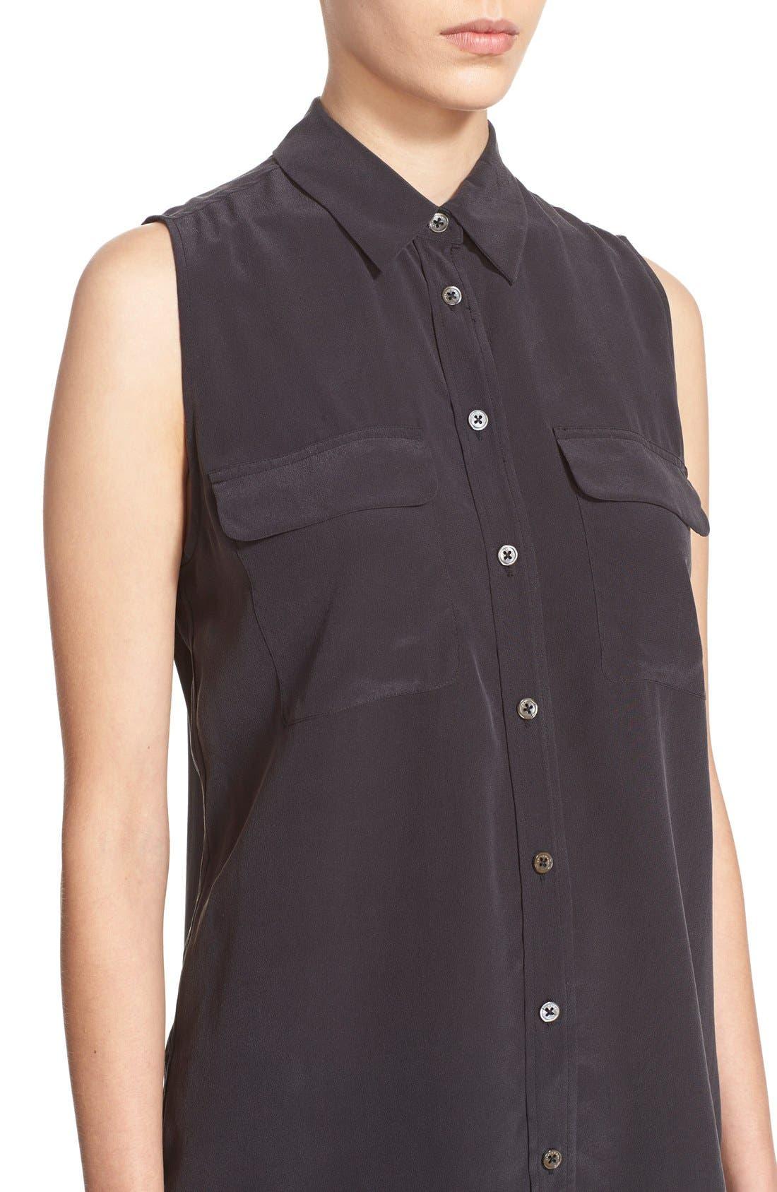 'Slim Signature' Sleeveless Silk Shirt,                             Alternate thumbnail 148, color,