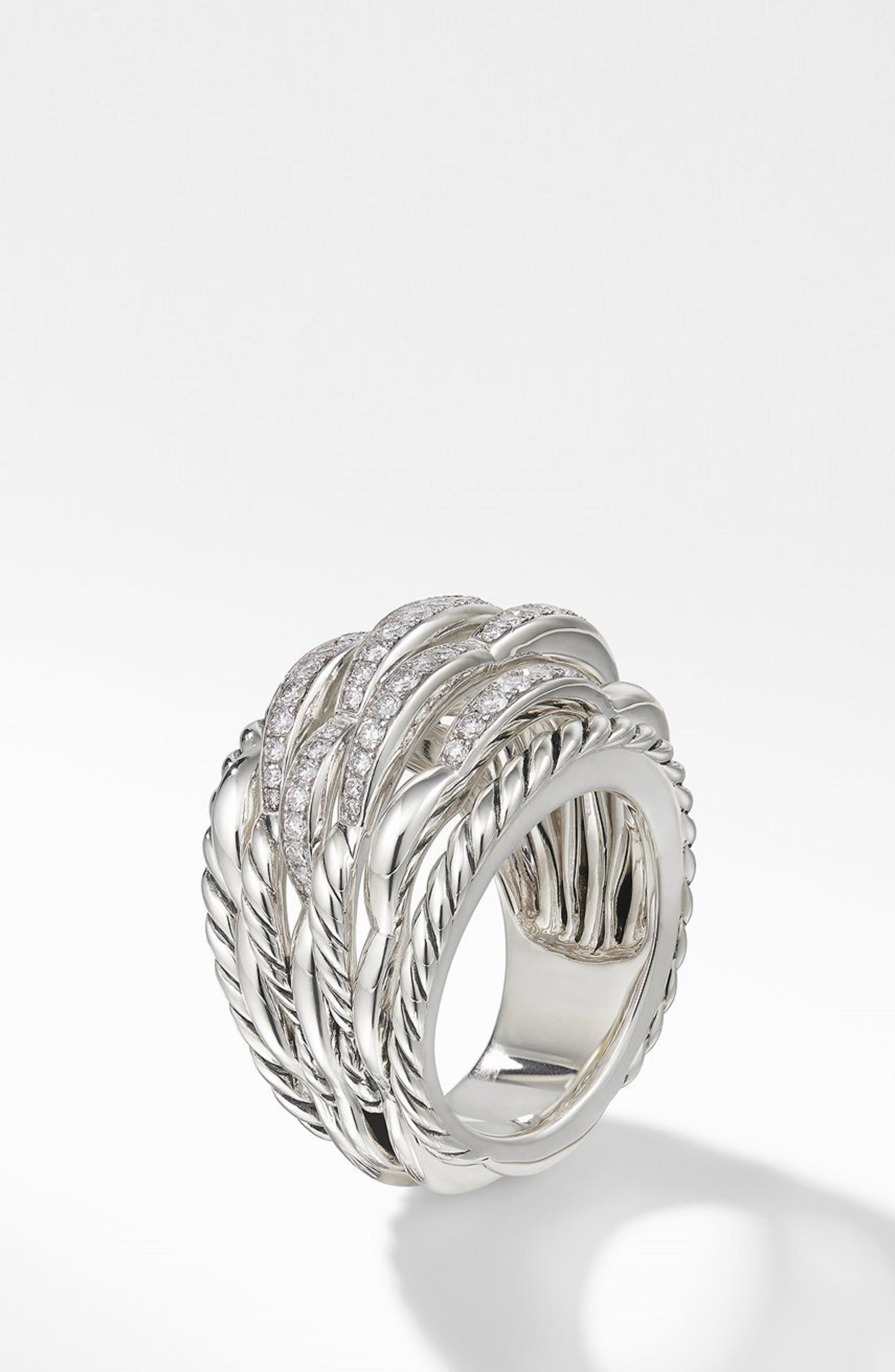 Tides 20mm Dome Ring with Diamonds,                             Alternate thumbnail 2, color,                             STERLING SILVER/ DIAMOND