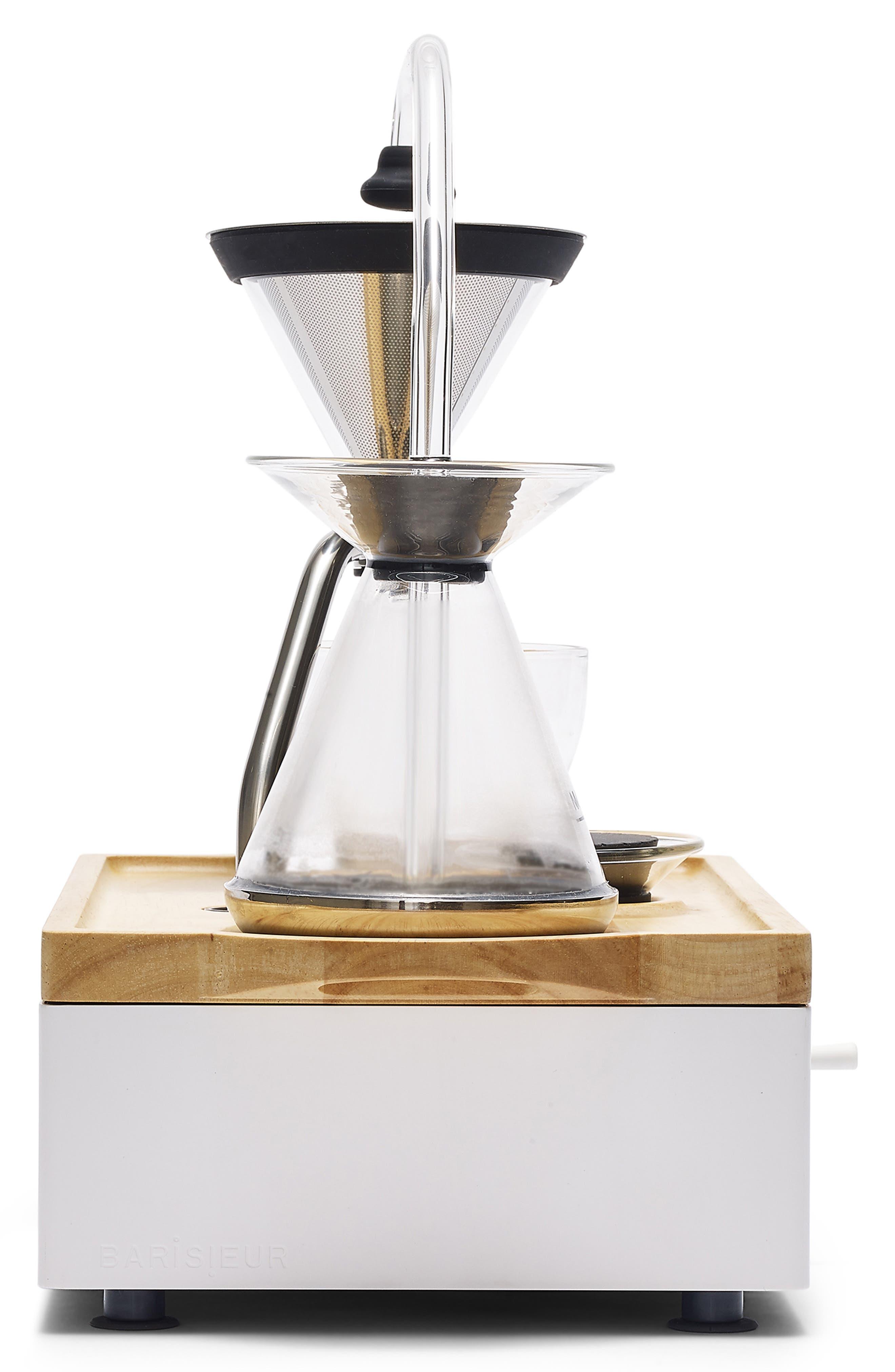 Soda Says x Barisieur Coffee & Tea Alarm Clock,                             Alternate thumbnail 6, color,                             WHITE/ RUBBERWOOD