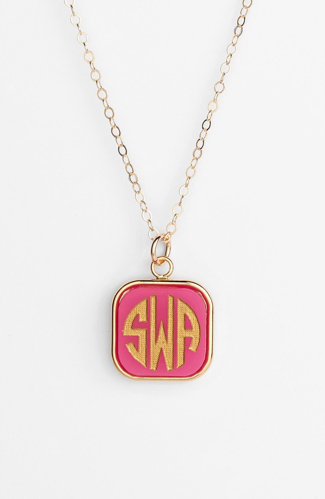 'Vineyard' Personalized Monogram Pendant Necklace,                         Main,                         color, HOT PINK