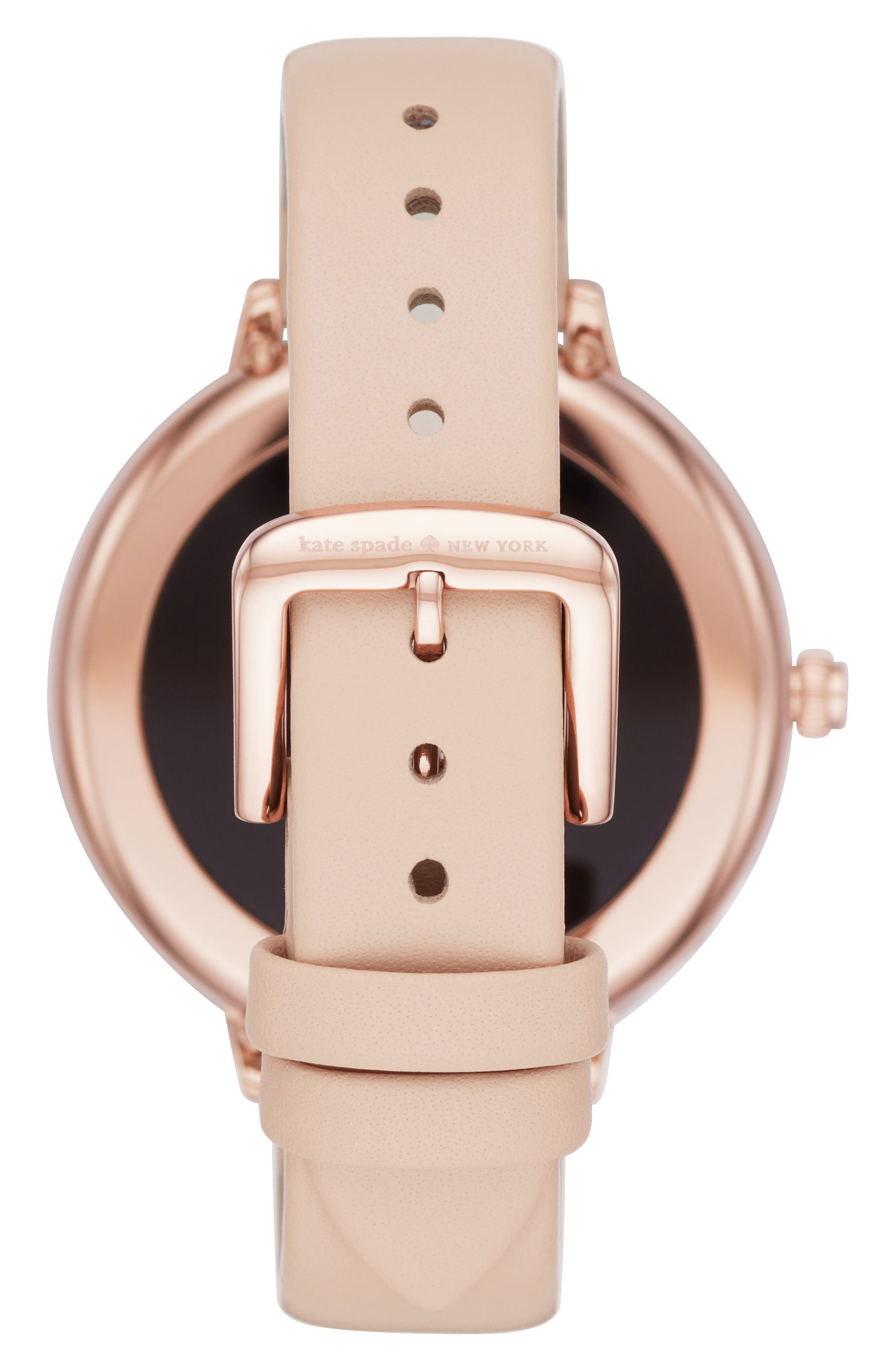 scallop leather strap touchscreen smart watch, 42mm,                             Alternate thumbnail 2, color,                             BEIGE/ PINK
