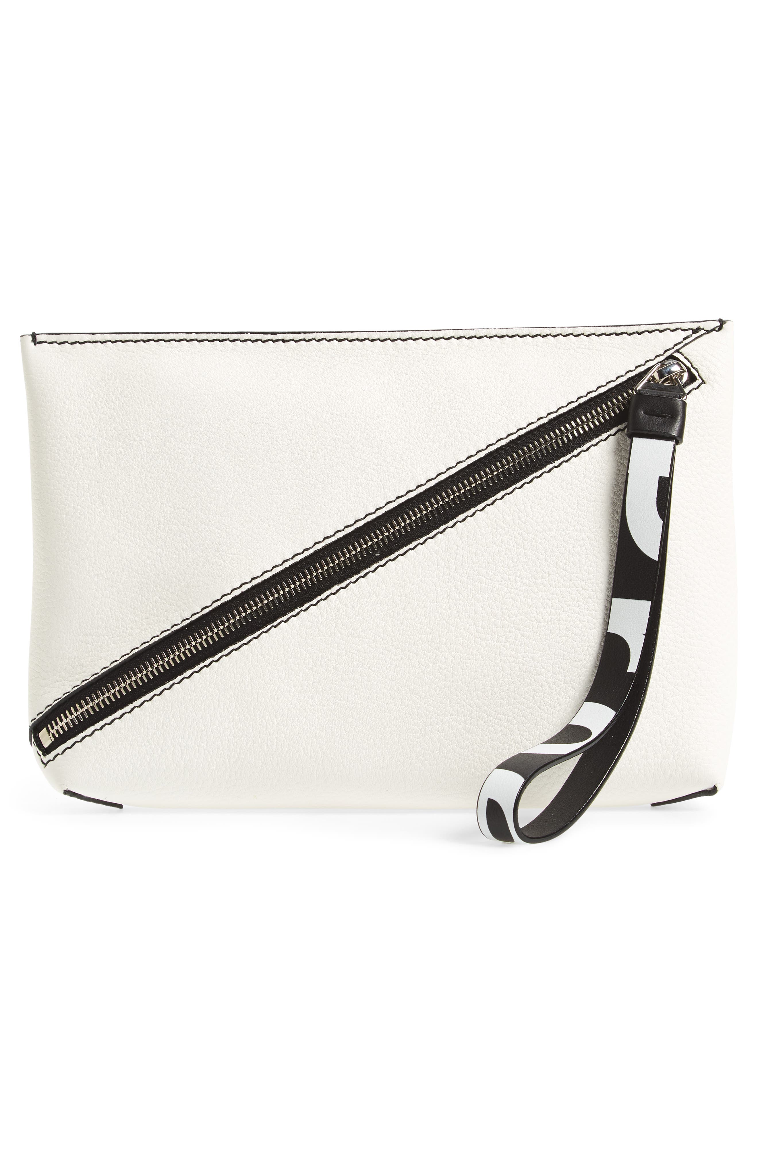 Diagonal Zip Leather Pouch,                             Alternate thumbnail 3, color,                             WHITE