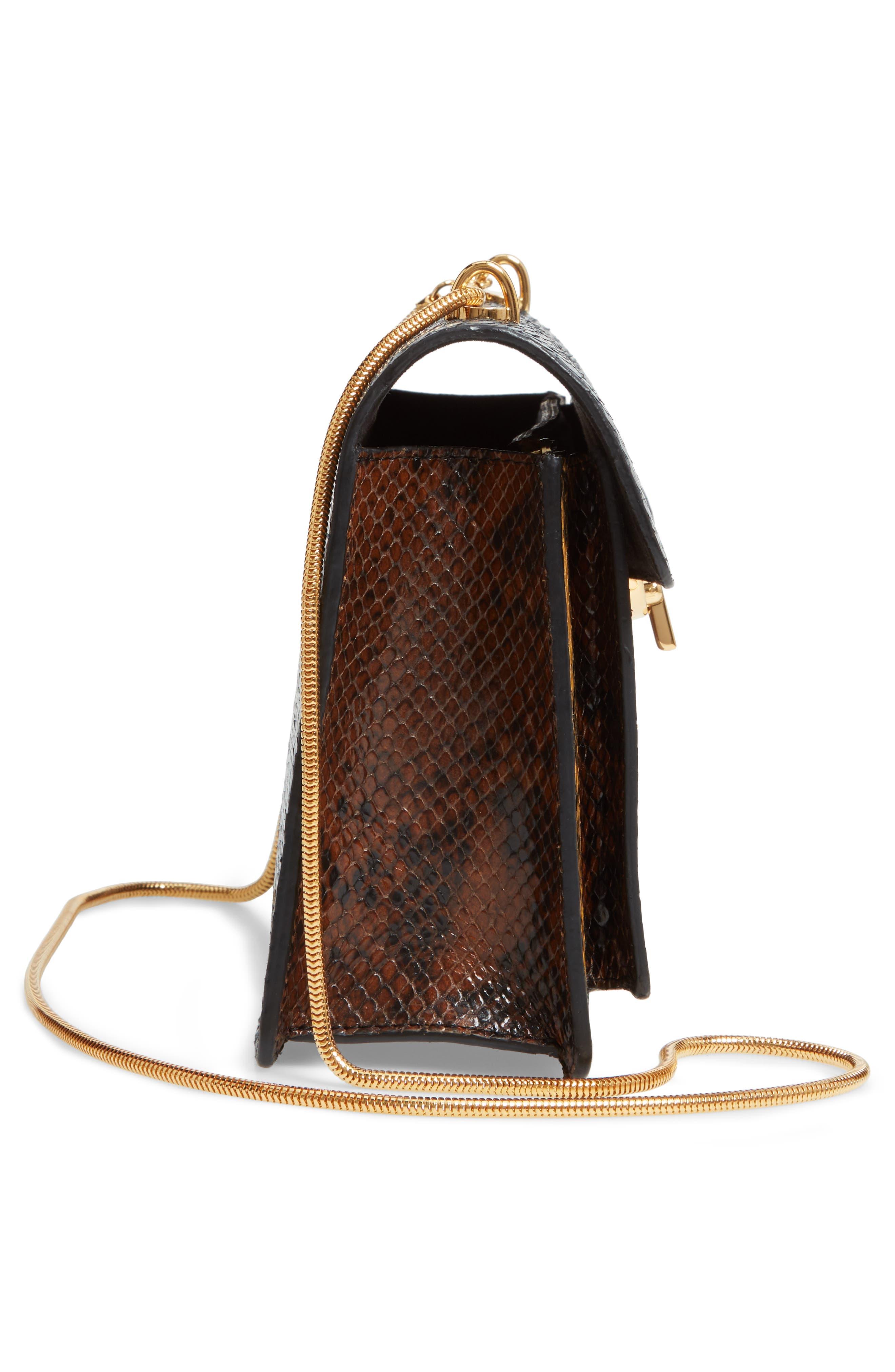 Croc Embossed Leather Shoulder Bag,                             Alternate thumbnail 5, color,                             200