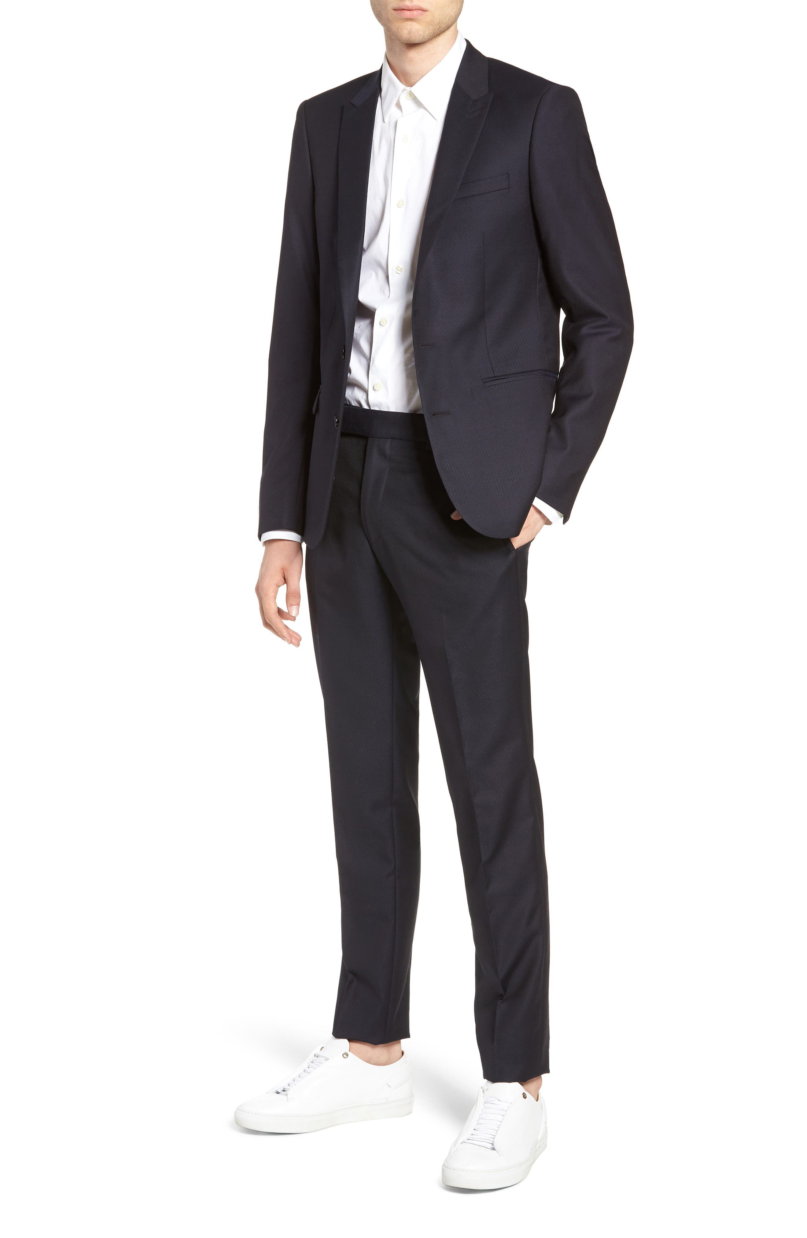 Slim Fit Suit Trousers,                             Alternate thumbnail 4, color,                             NAVY