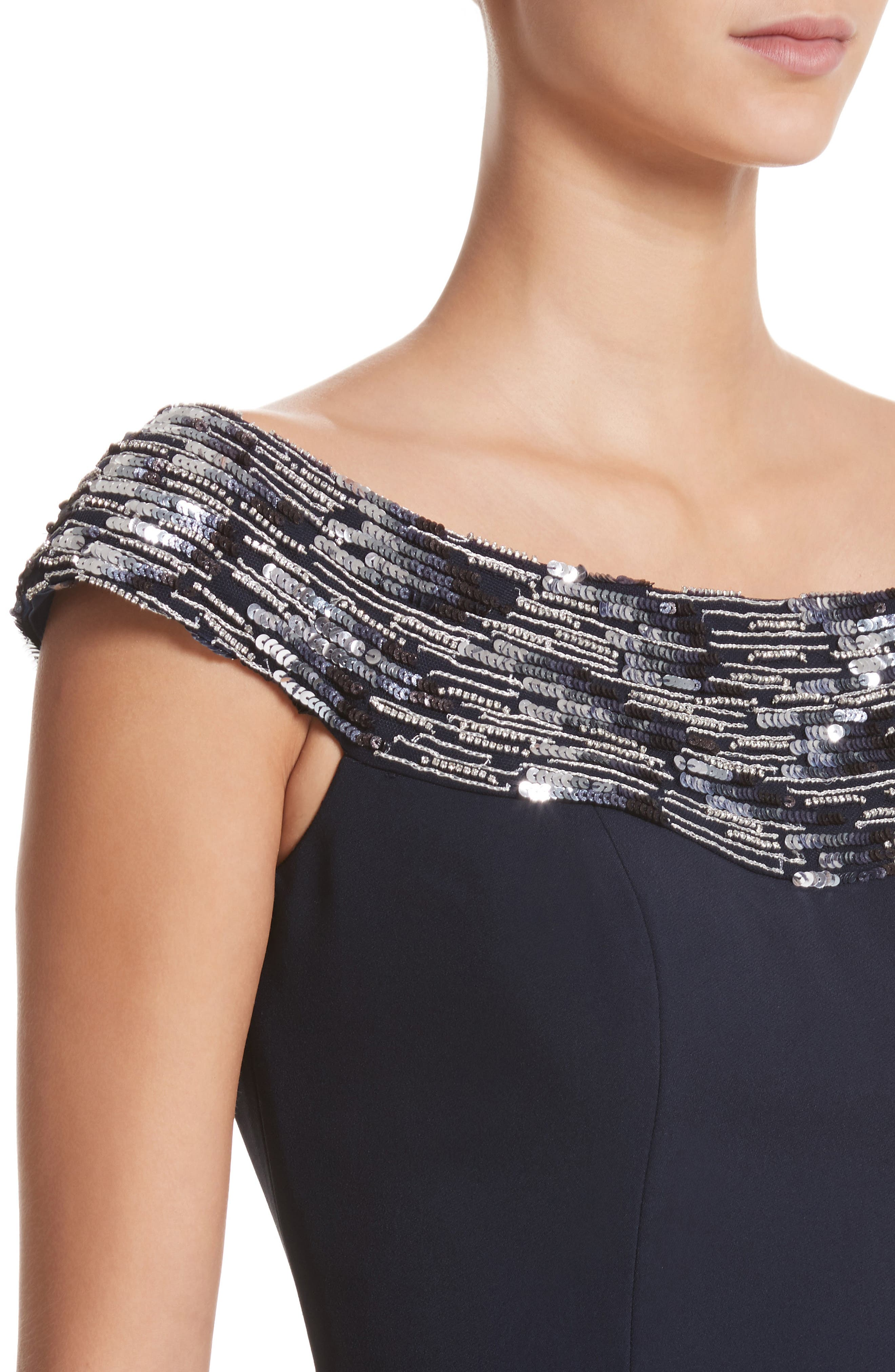 Embellished Off the Shoulder Peplum Gown,                             Alternate thumbnail 4, color,