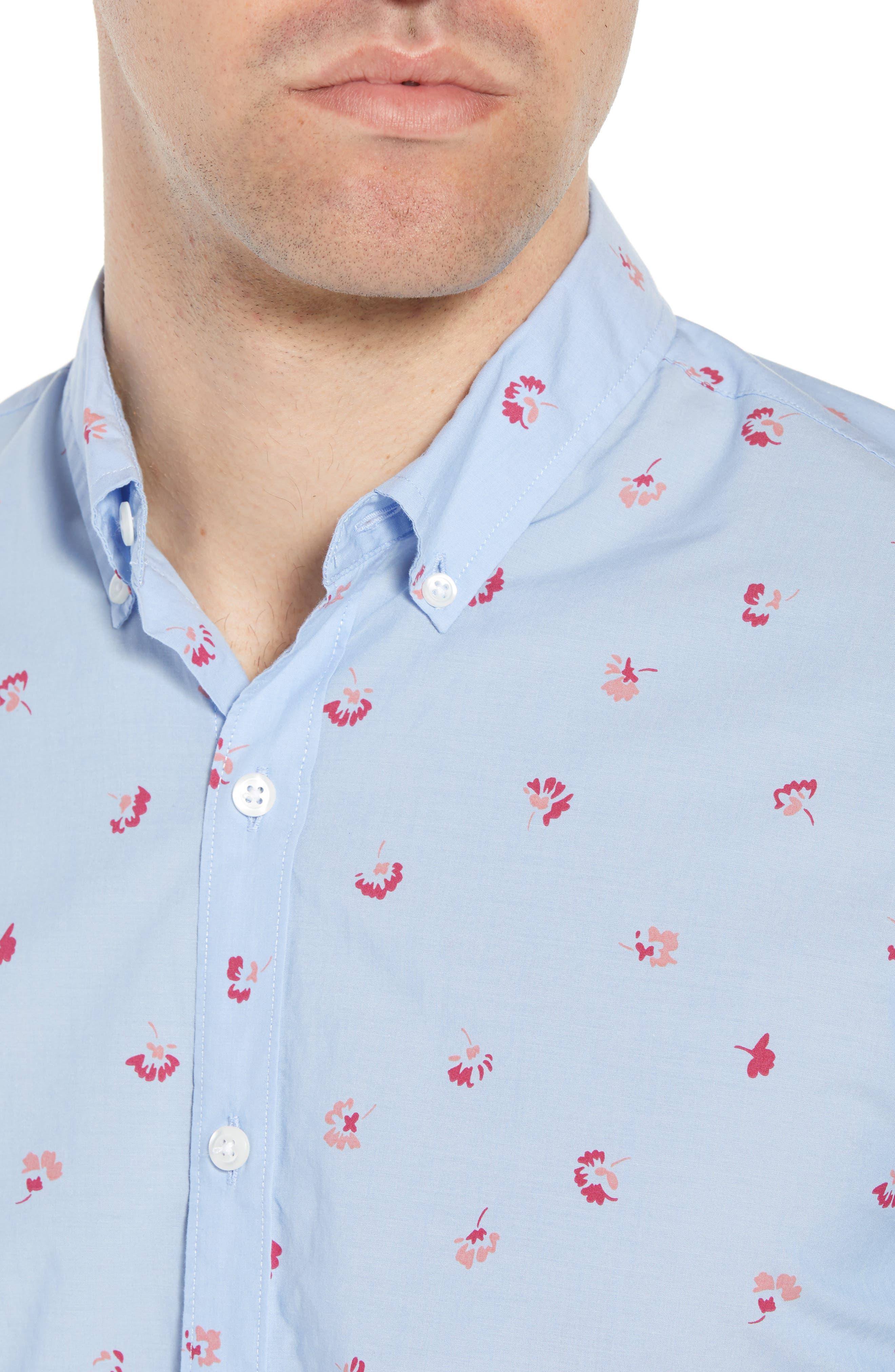 Slim Fit Floral Sport Shirt,                             Alternate thumbnail 4, color,