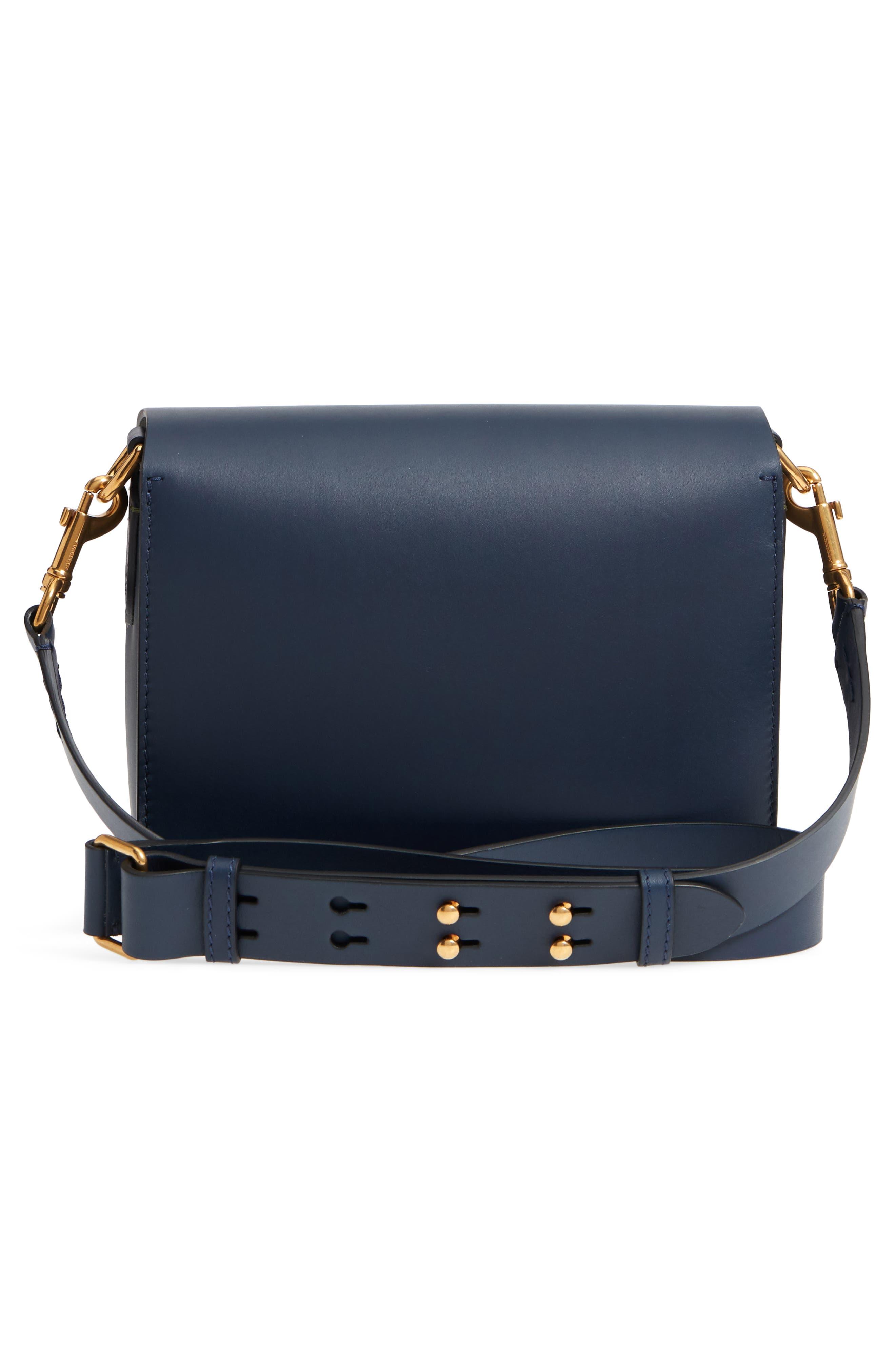 Large Square Leather Shoulder Bag,                             Alternate thumbnail 3, color,                             MID INDIGO
