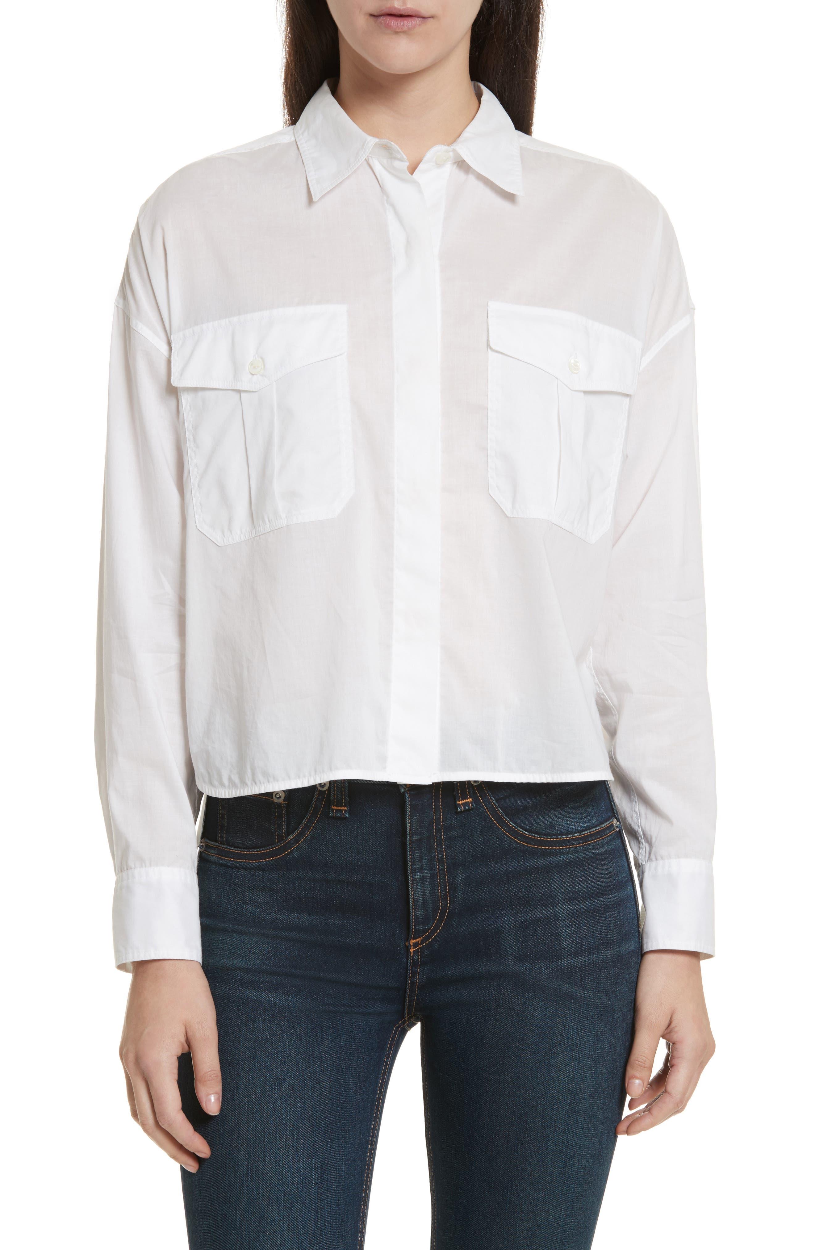 Mason Crop Shirt,                             Main thumbnail 1, color,                             100