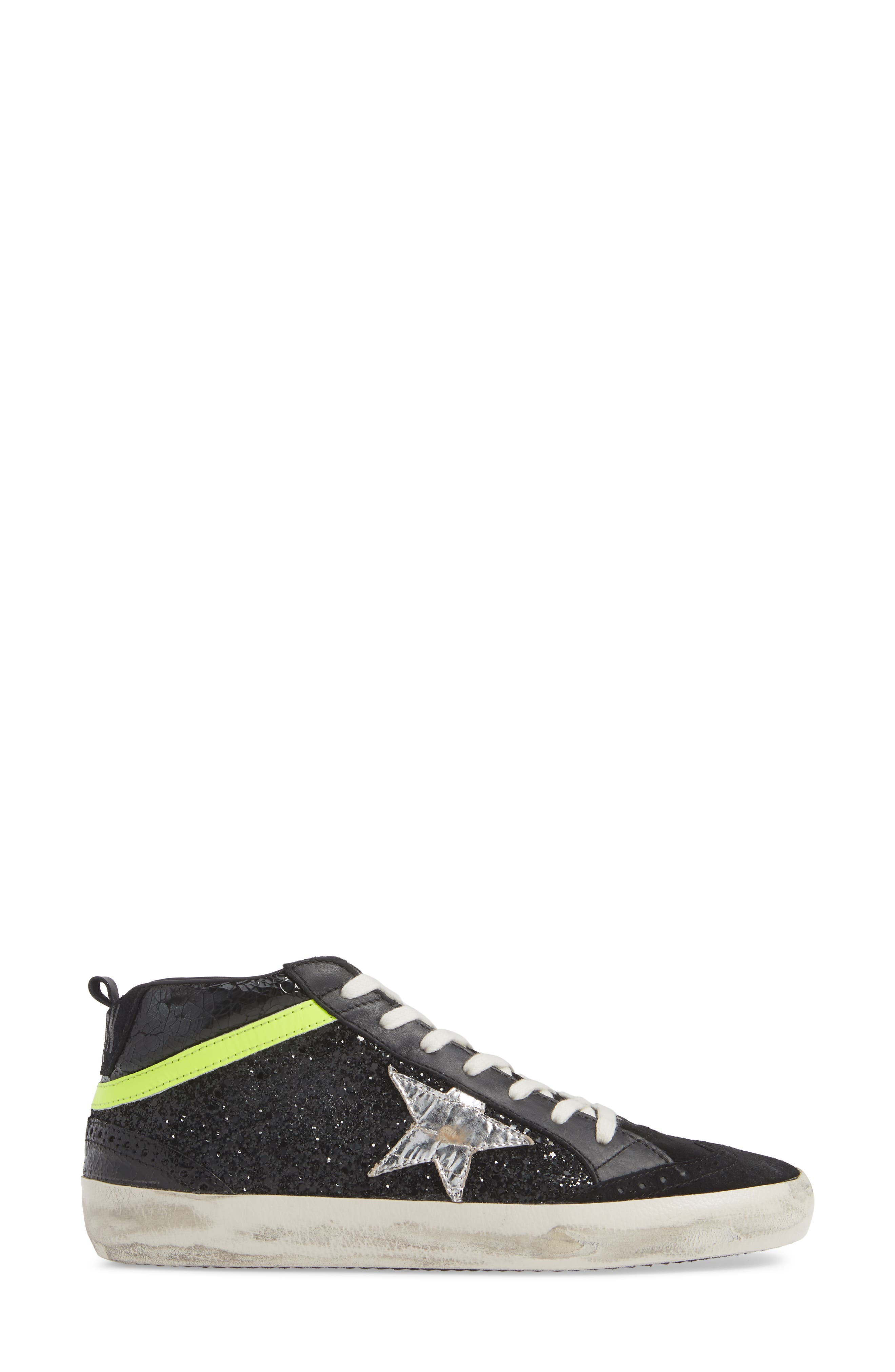 Mid Top Sneaker,                             Alternate thumbnail 3, color,                             BLACK/ YELLOW/ SILVER