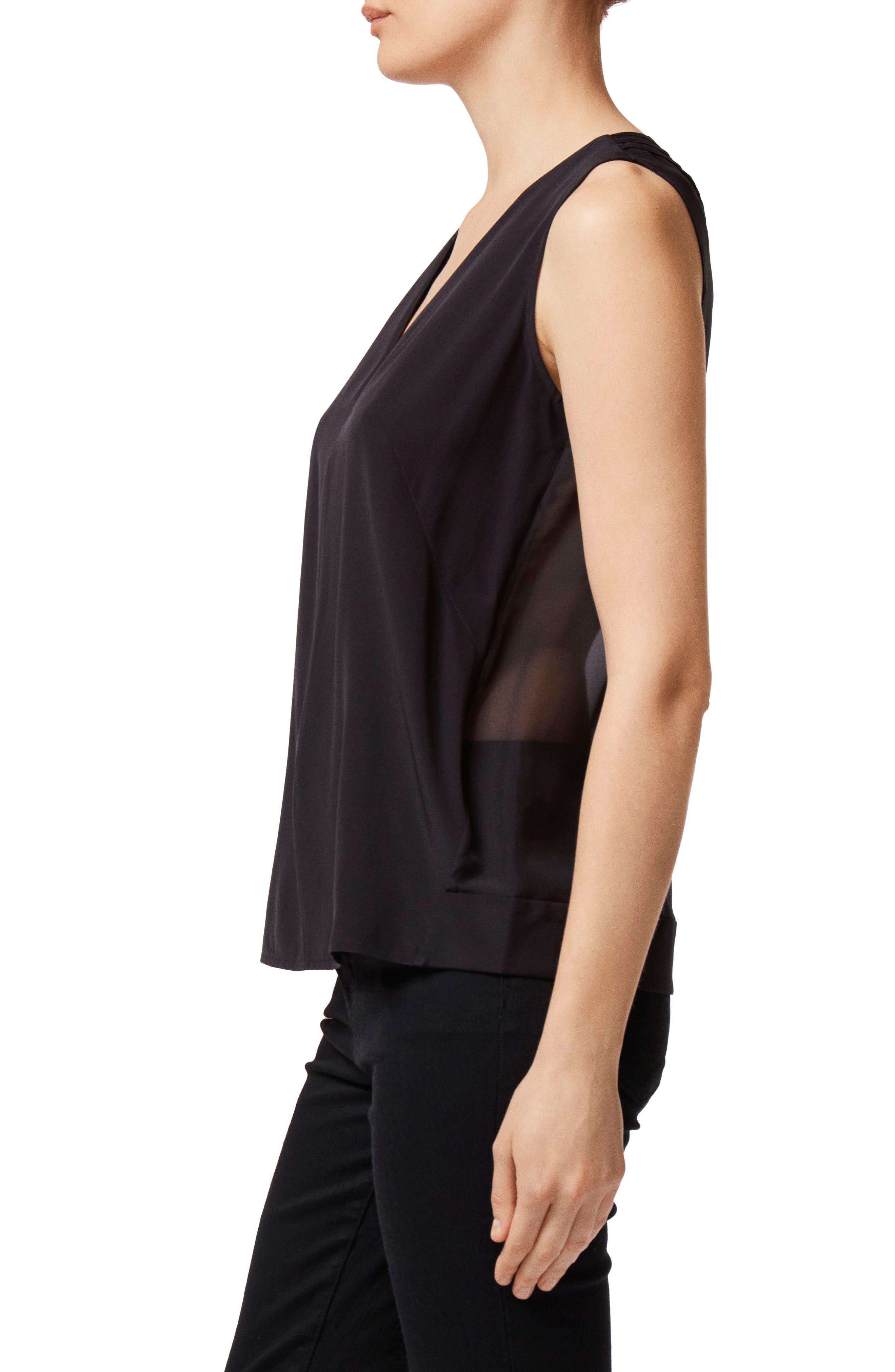 Christina Pleated Back Silk Top,                             Alternate thumbnail 3, color,                             BLACK