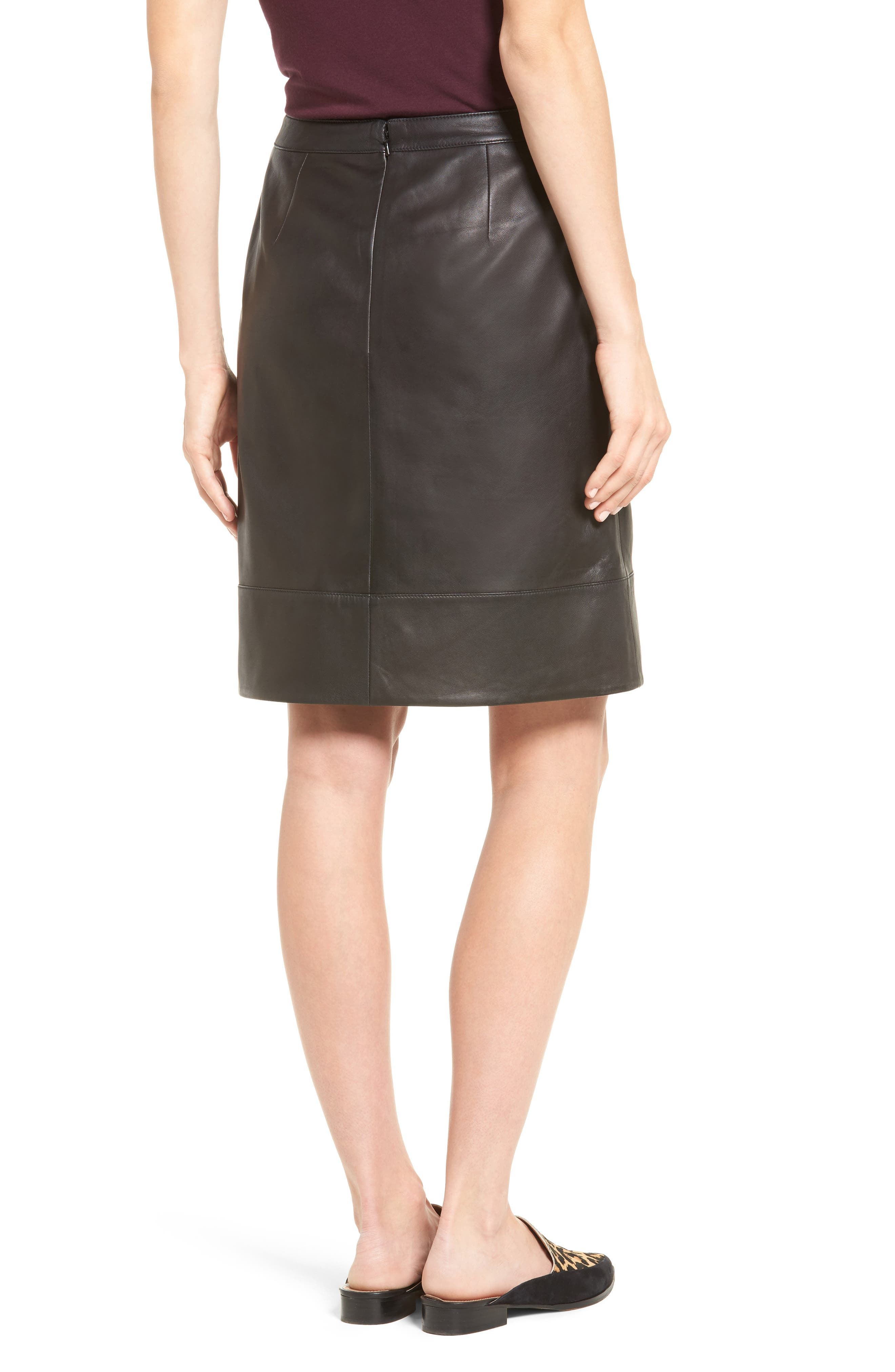 A-Line Leather Skirt,                             Alternate thumbnail 2, color,                             001
