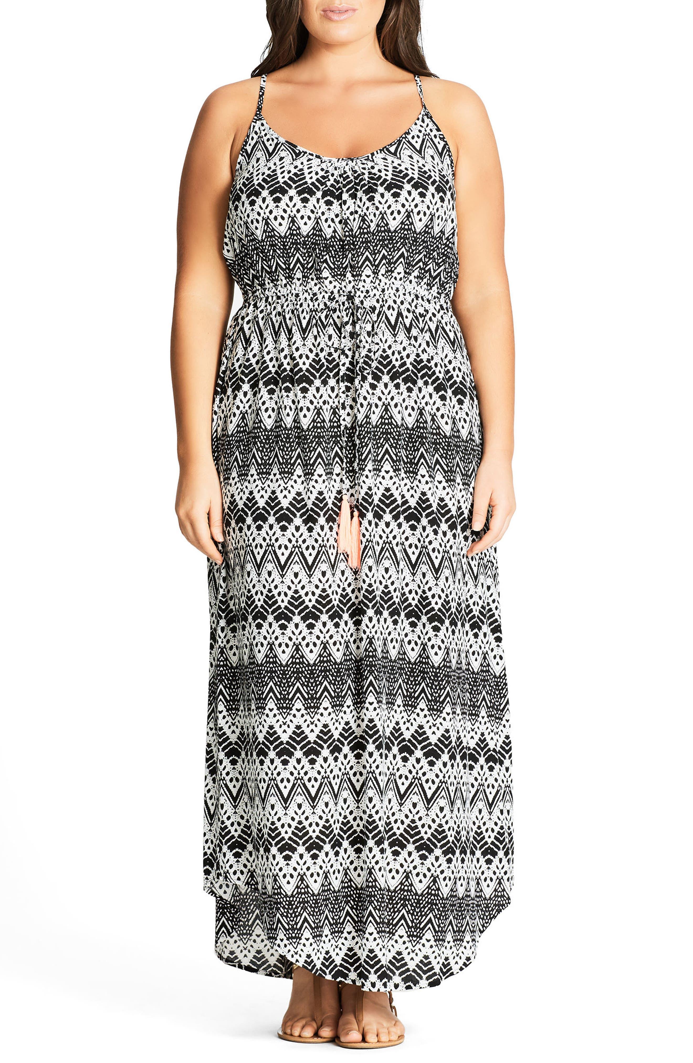 Mono Print Maxi Dress,                             Alternate thumbnail 2, color,