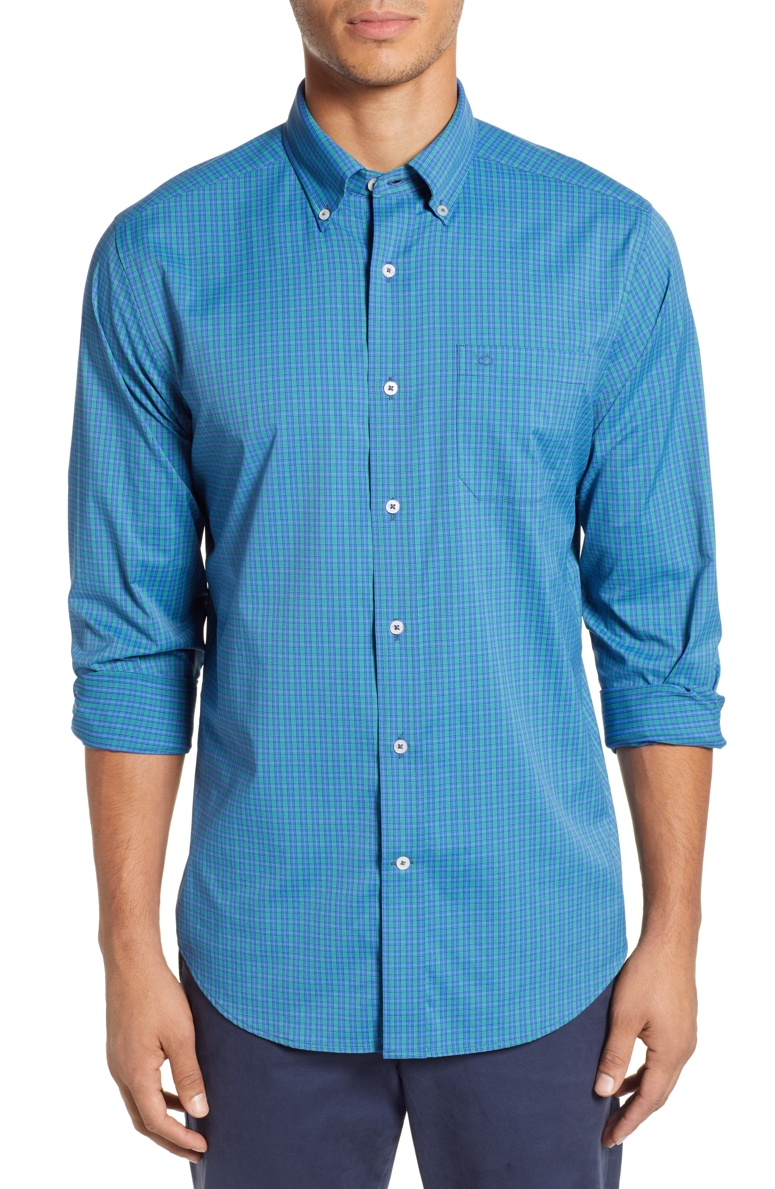 SOUTHERN TIDE Lodge Intercoastal Regular Fit Plaid Performance Sport Shirt in Light Indigo