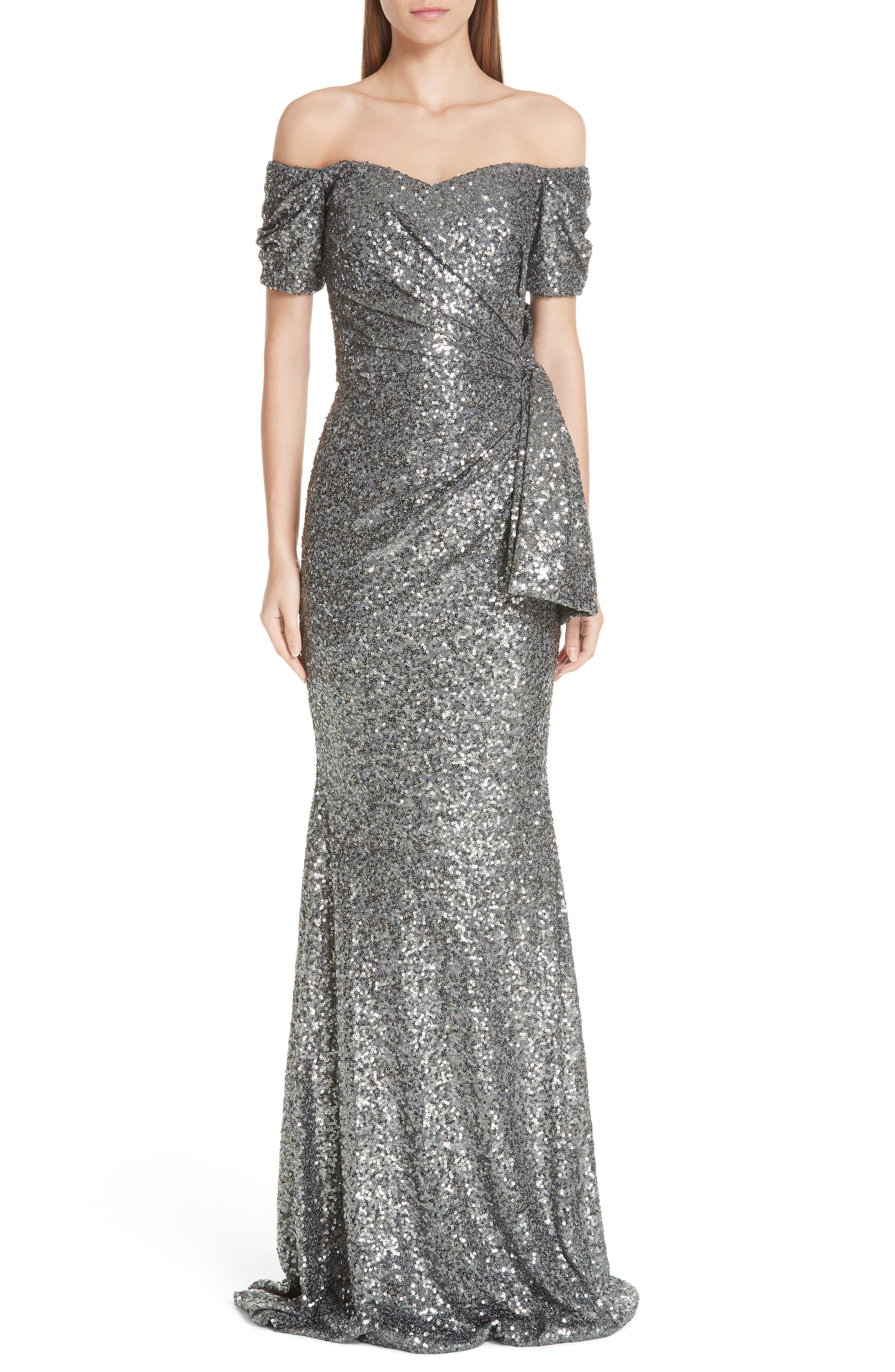 Bow Detail Sequin Off the Shoulder Gown,                             Main thumbnail 1, color,                             CHARCOAL