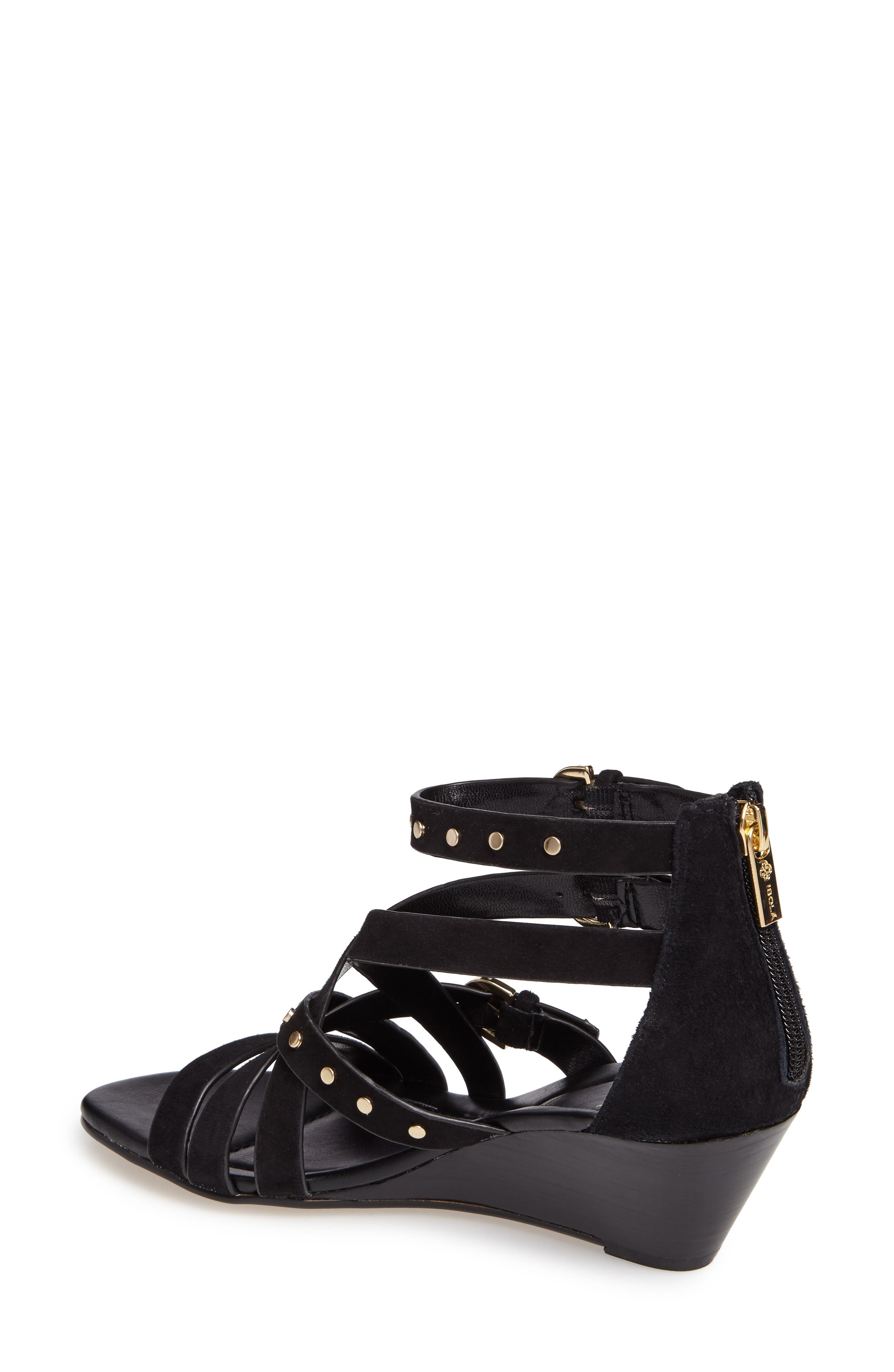 Petra Strappy Wedge Sandal,                             Alternate thumbnail 2, color,                             BLACK LEATHER
