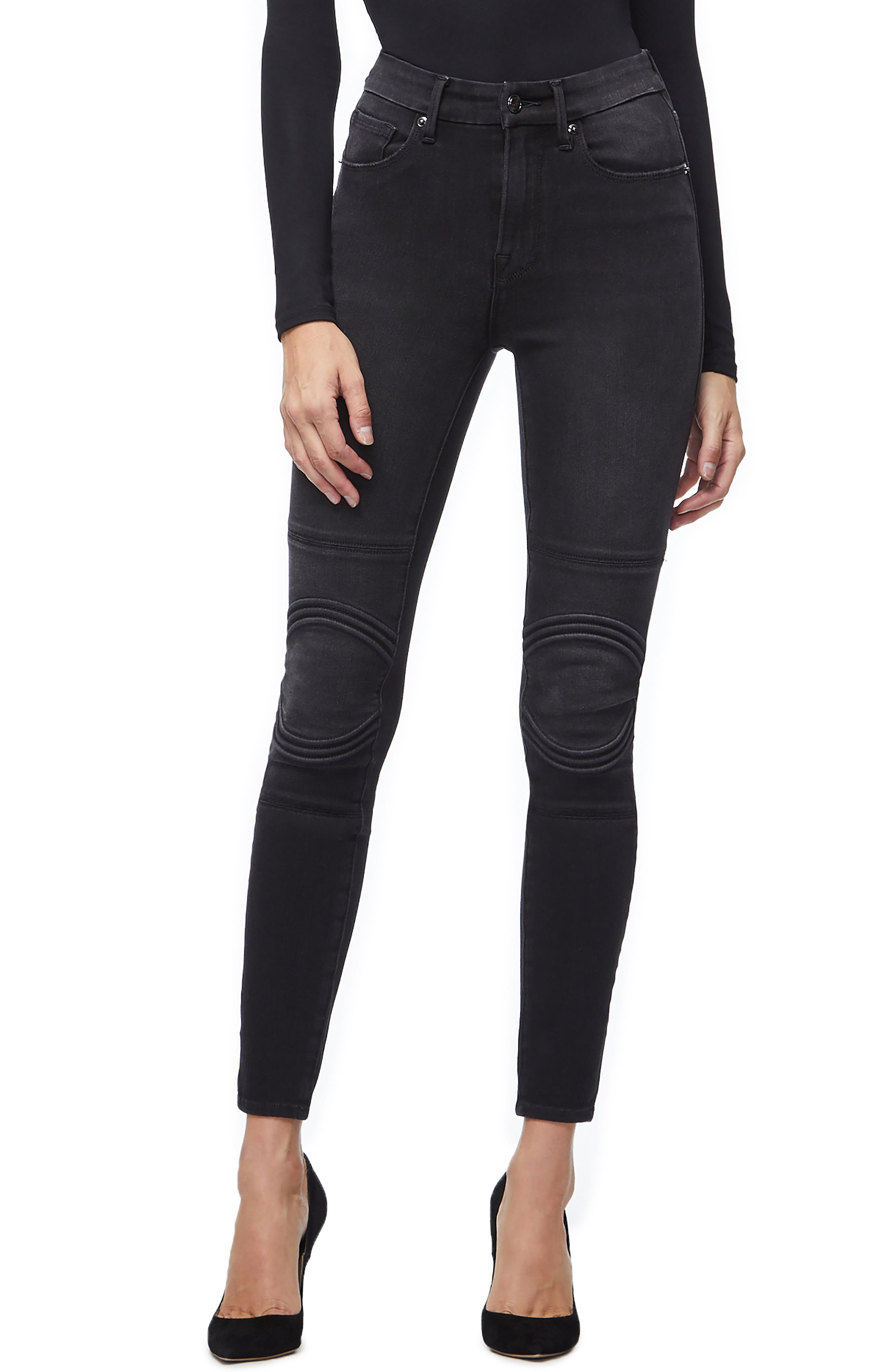 Good Waist Corded High Waist Skinny Jeans,                             Main thumbnail 1, color,                             BLACK040