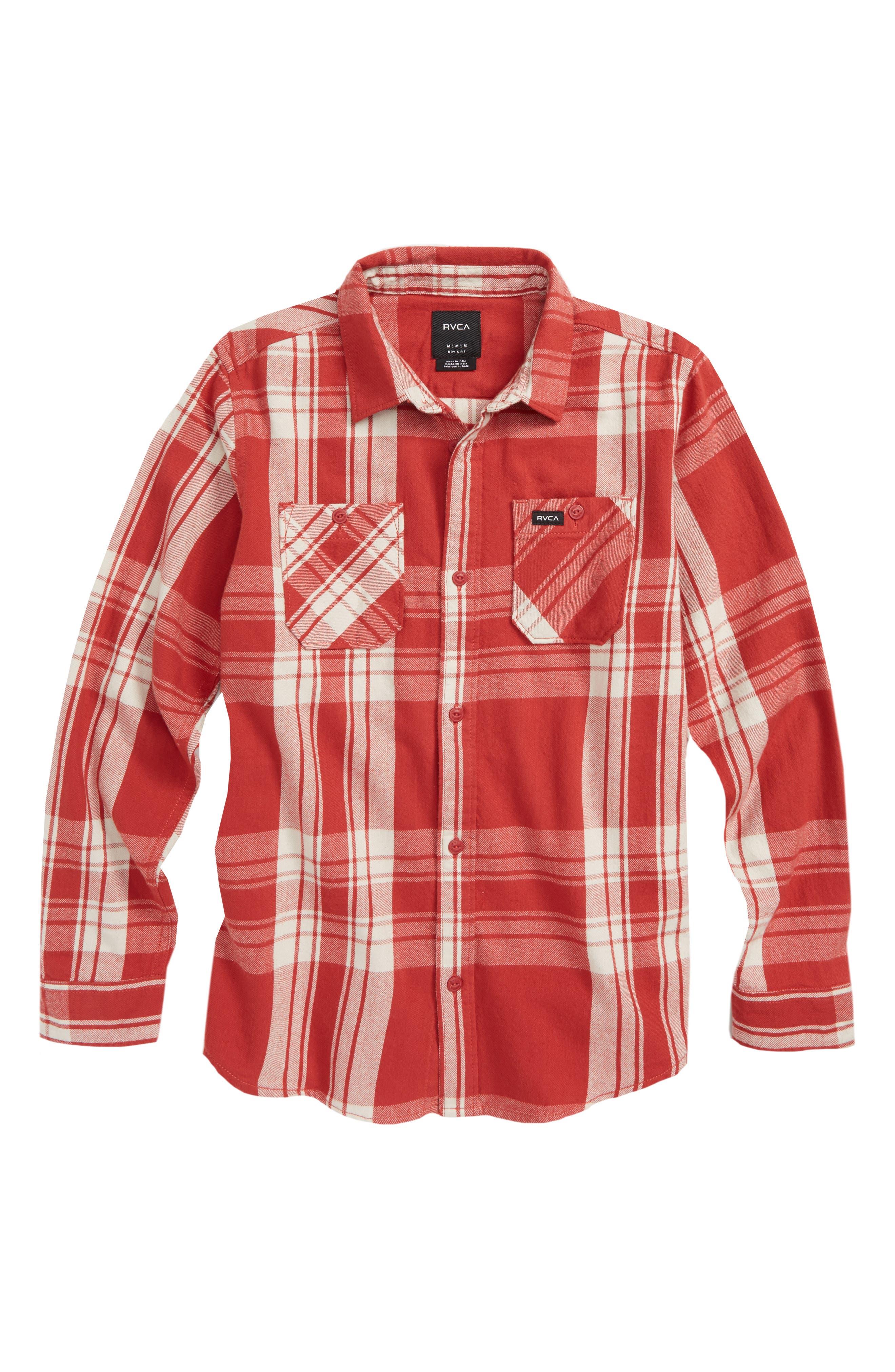 RVCA,                             Wanted Plaid Flannel Shirt,                             Main thumbnail 1, color,                             GARNET