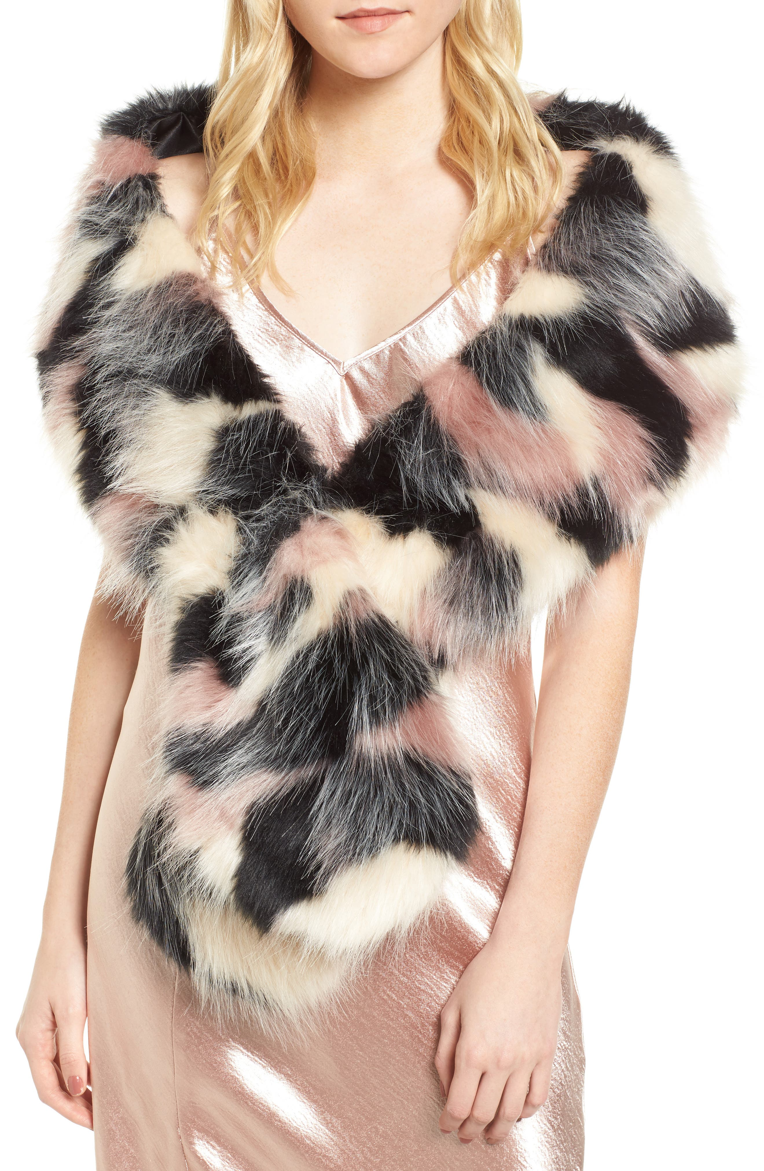 Oversized Faux Fur Wrap,                         Main,                         color, 650