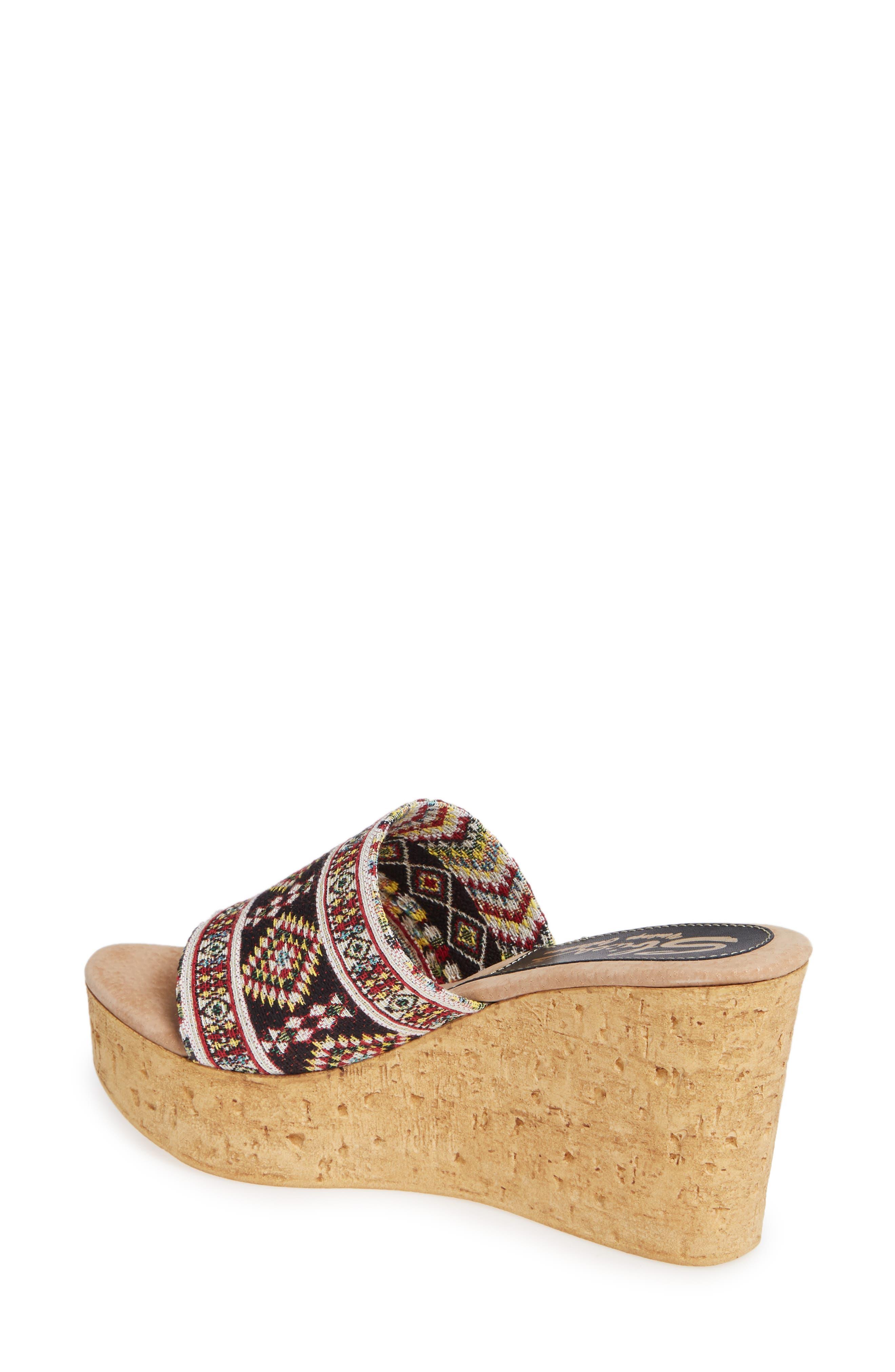 Orabela Platform Wedge Sandal,                             Alternate thumbnail 2, color,                             BLACK MULTICOLOR FABRIC
