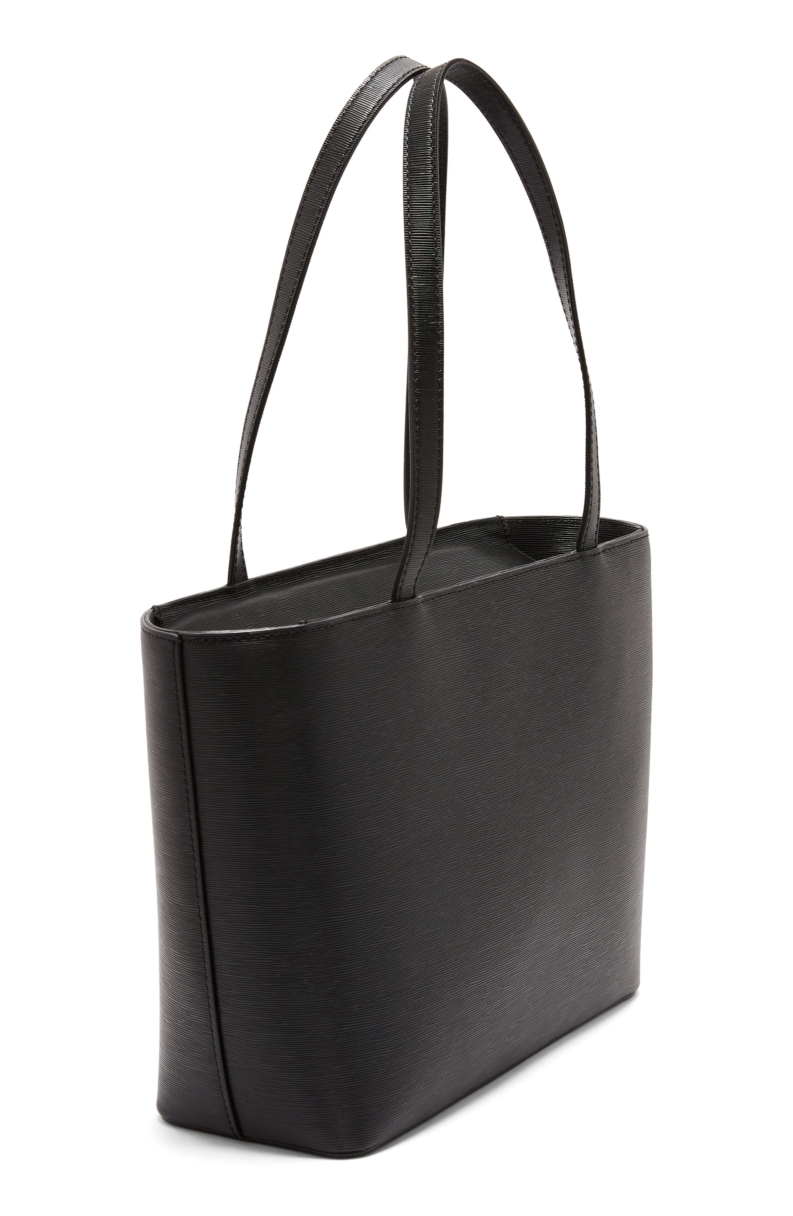 Bow Detail Leather Shopper,                             Alternate thumbnail 6, color,                             BLACK