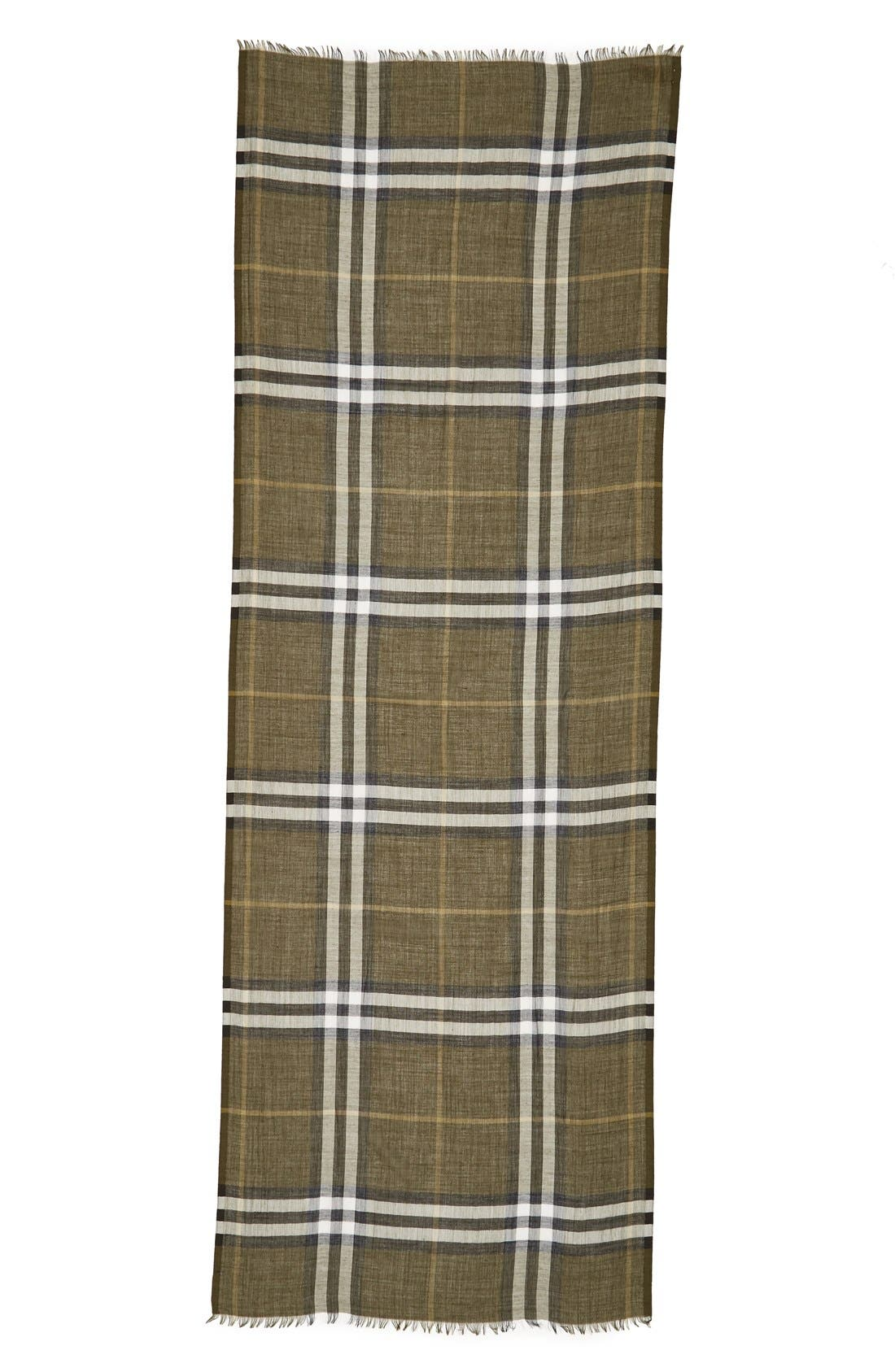 Giant Check Print Wool & Silk Scarf,                             Alternate thumbnail 84, color,