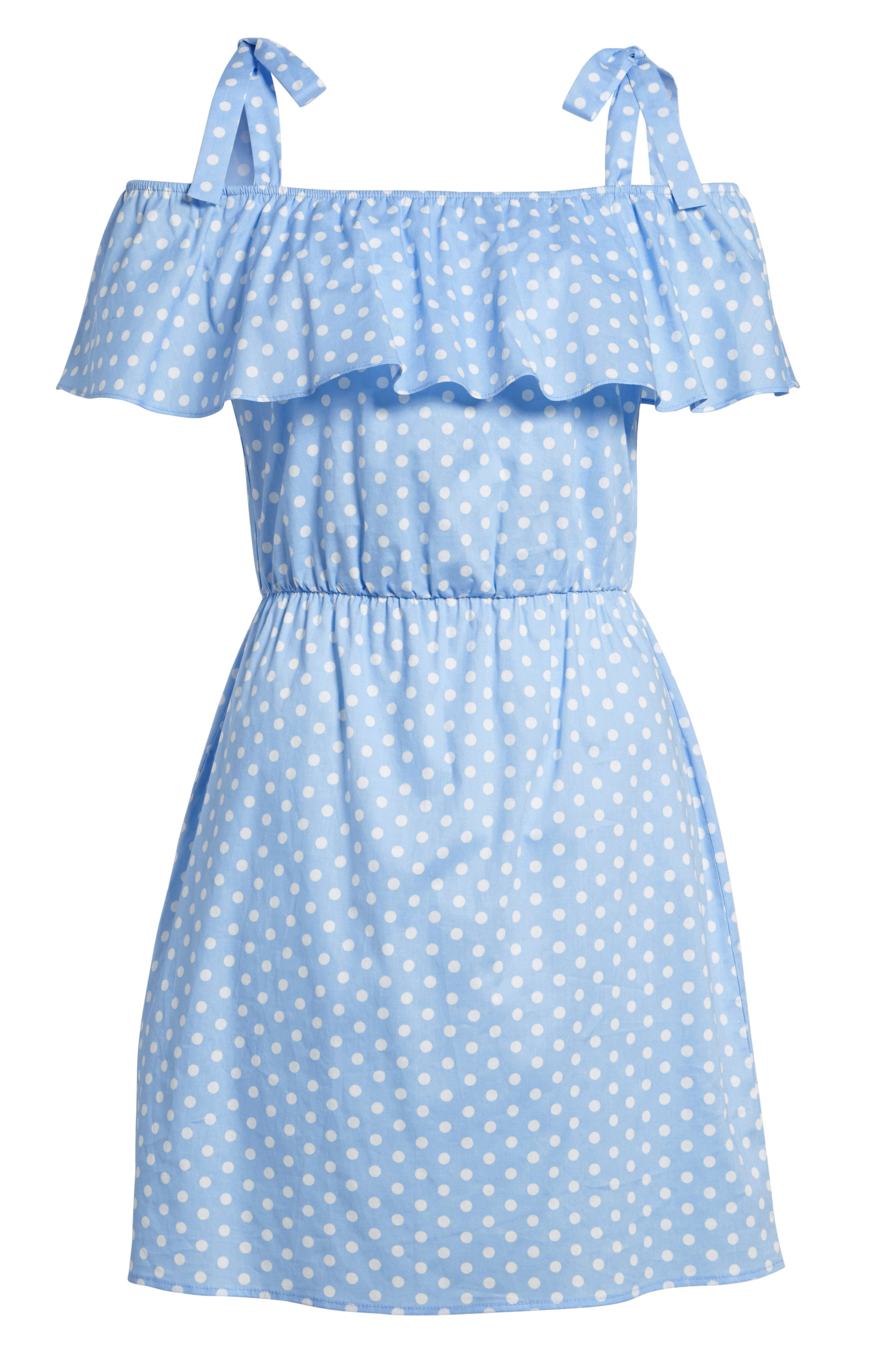 Ruffle Cold Shoulder Dress,                             Alternate thumbnail 7, color,                             463