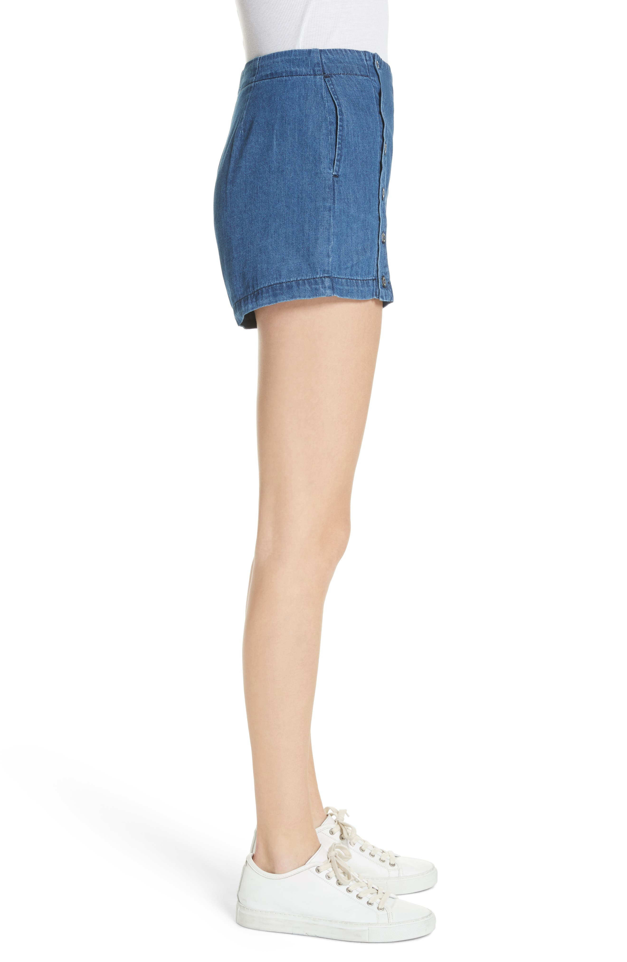 Amy Button Front Denim Shorts,                             Alternate thumbnail 3, color,                             ABELLA SHORT