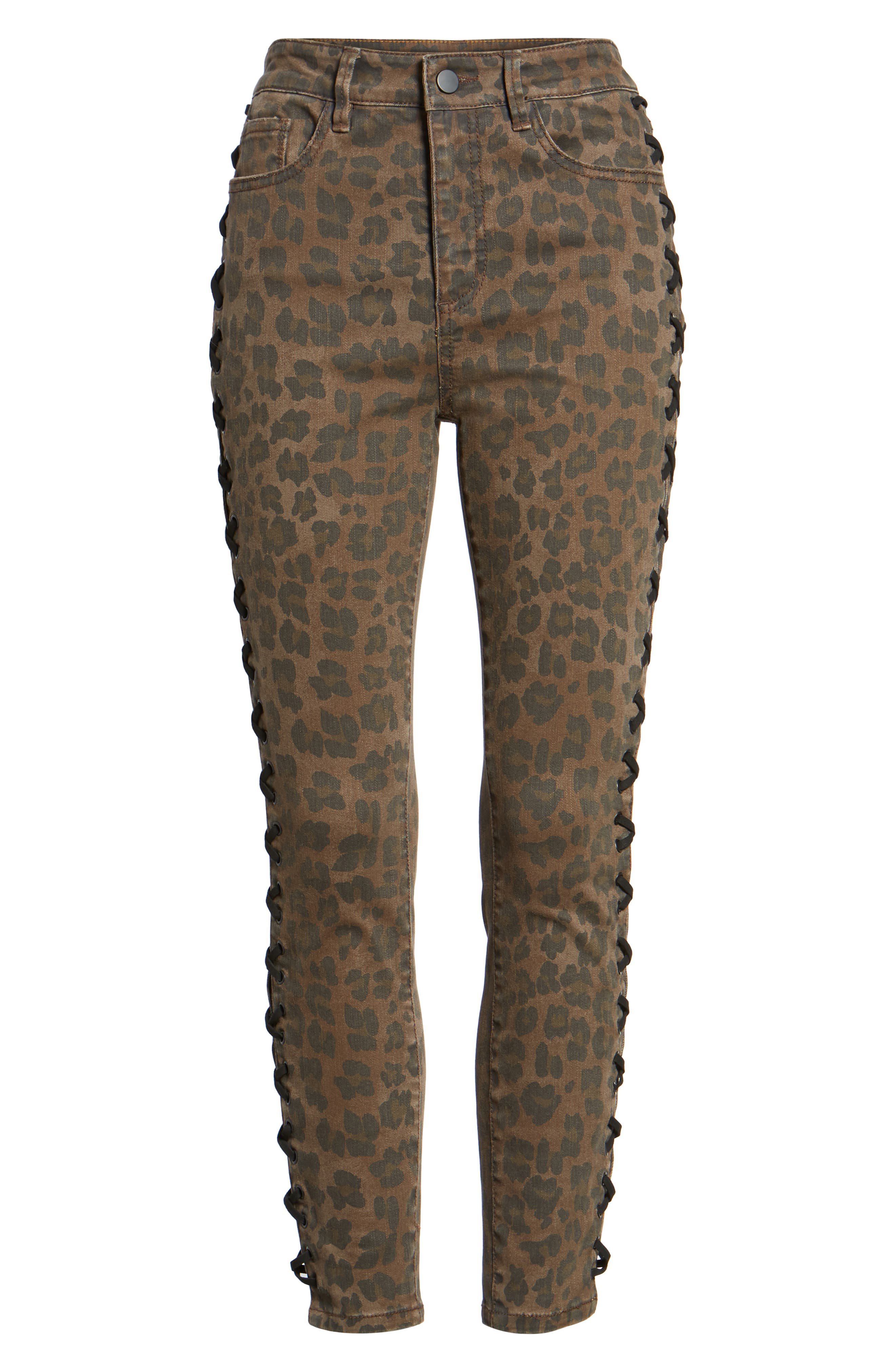 Lace Up Leopard Crop Skinny Jeans,                             Alternate thumbnail 6, color,