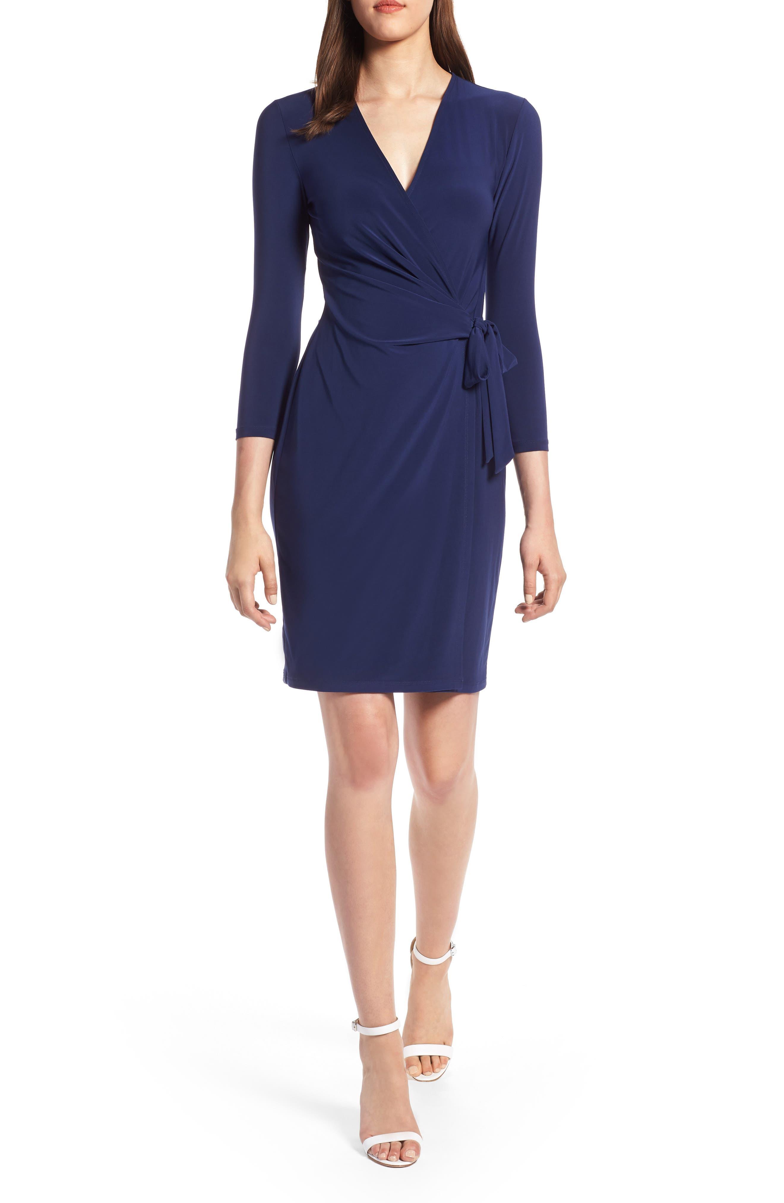 Faux Wrap Dress,                             Alternate thumbnail 6, color,                             CEZANNE BLUE