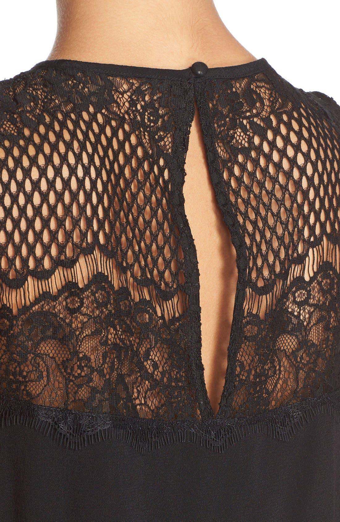 Adeyln Rae Lace Back Crepe Romper,                             Alternate thumbnail 3, color,                             001
