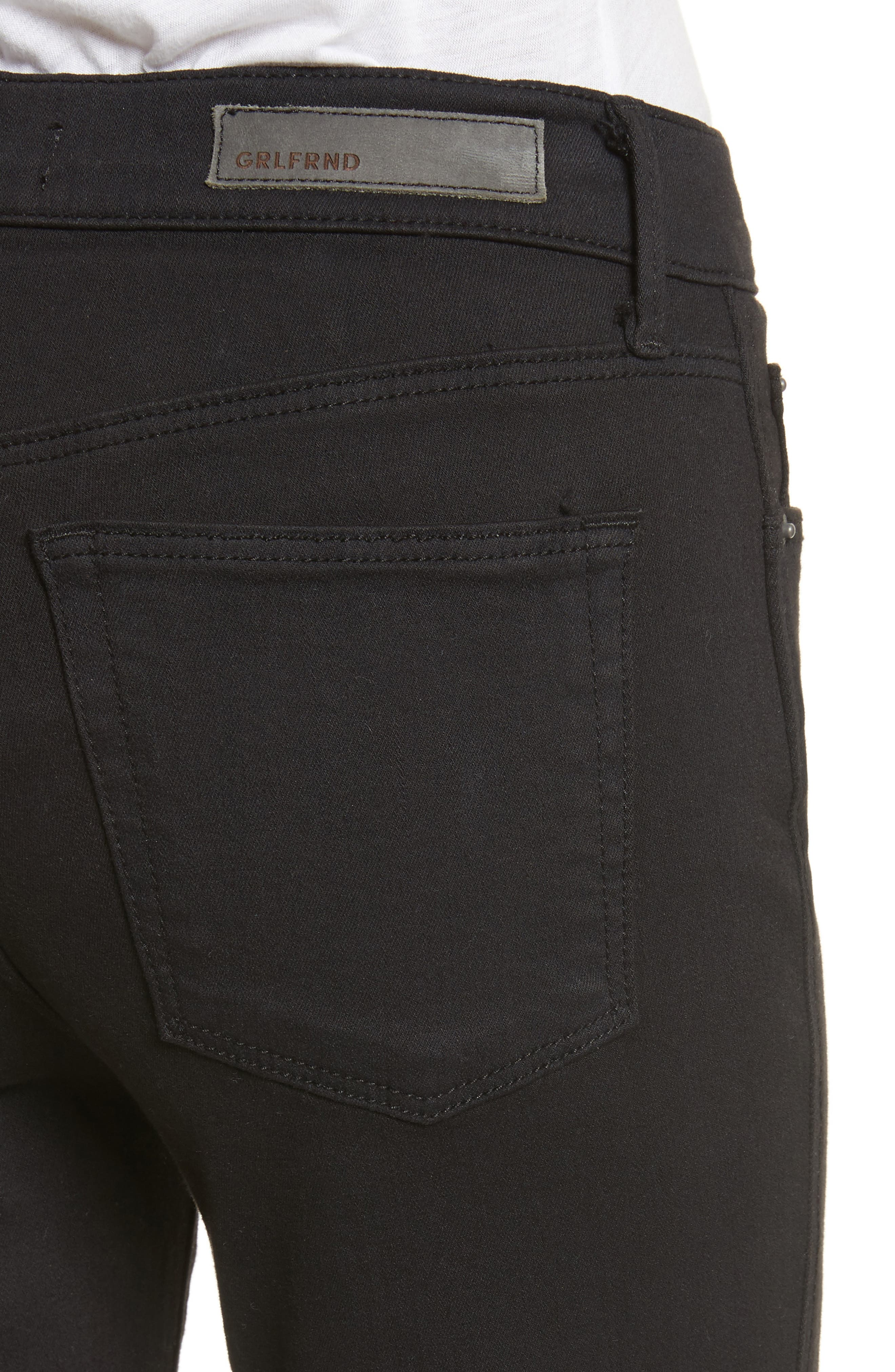 Joan Crop Flare Jeans,                             Alternate thumbnail 4, color,                             001