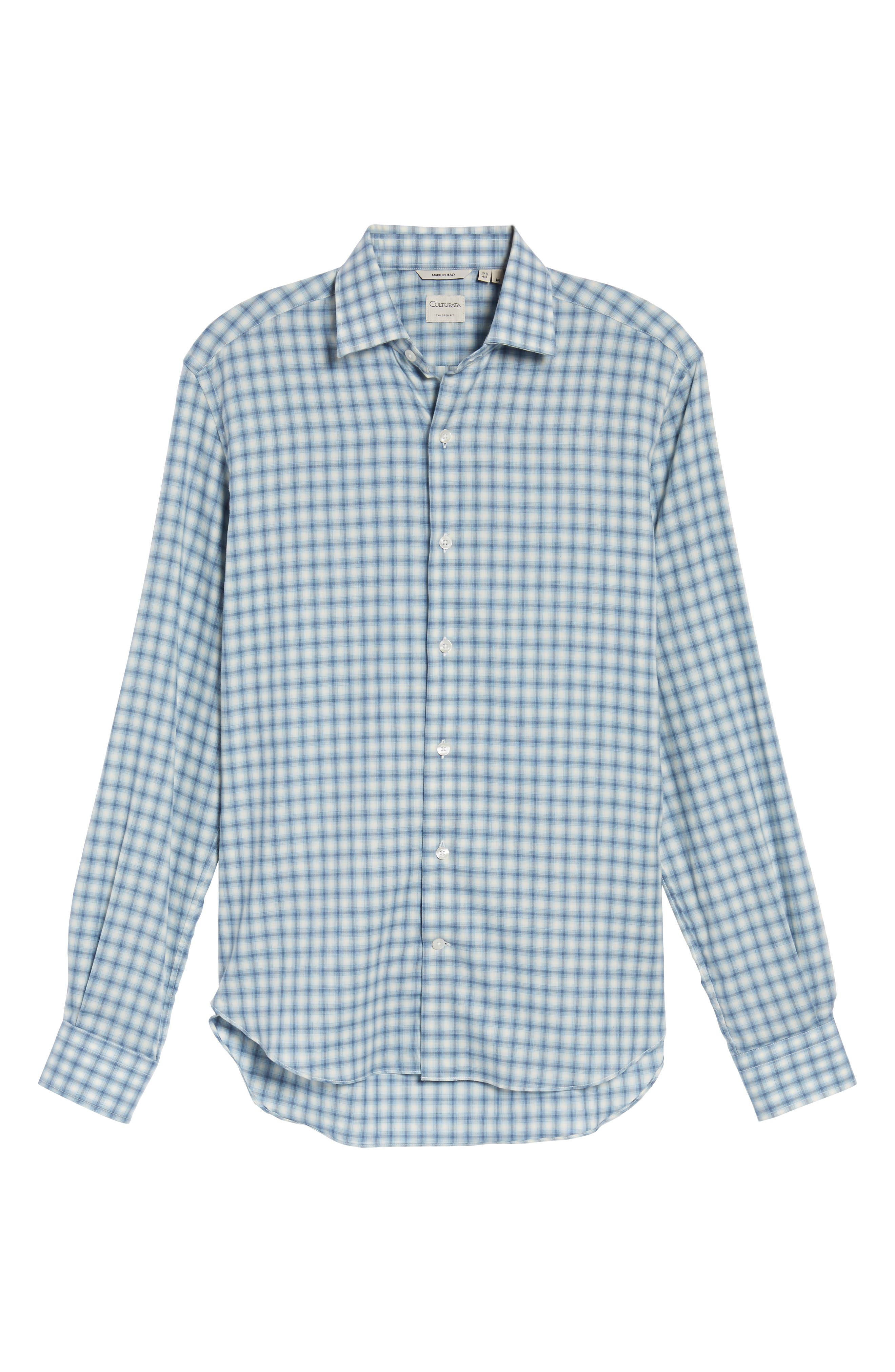 Slim Fit Plaid Twill Sport Shirt,                             Alternate thumbnail 6, color,