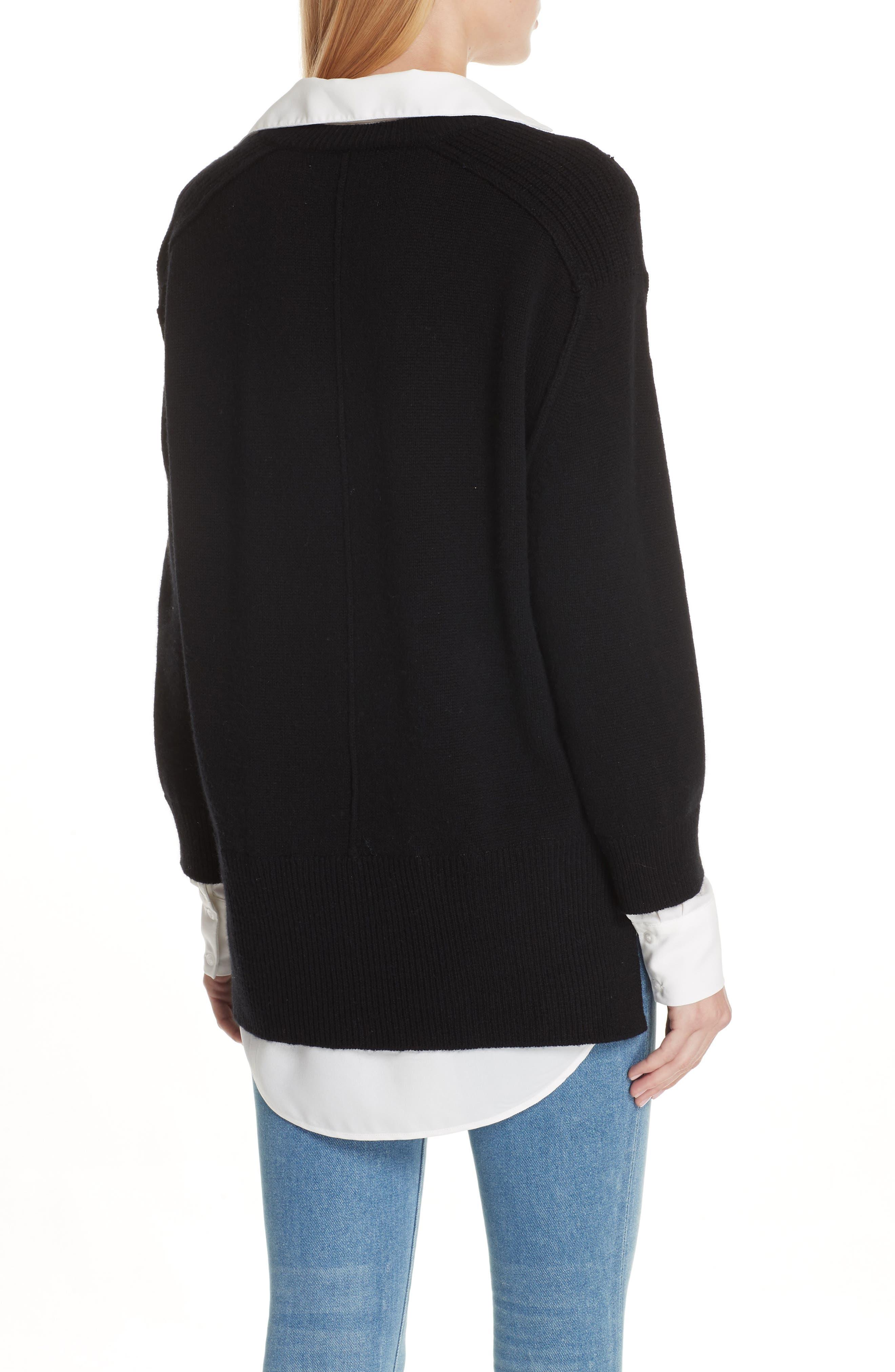 V-Neck Layered Pullover,                             Alternate thumbnail 2, color,                             BLACK ONYX