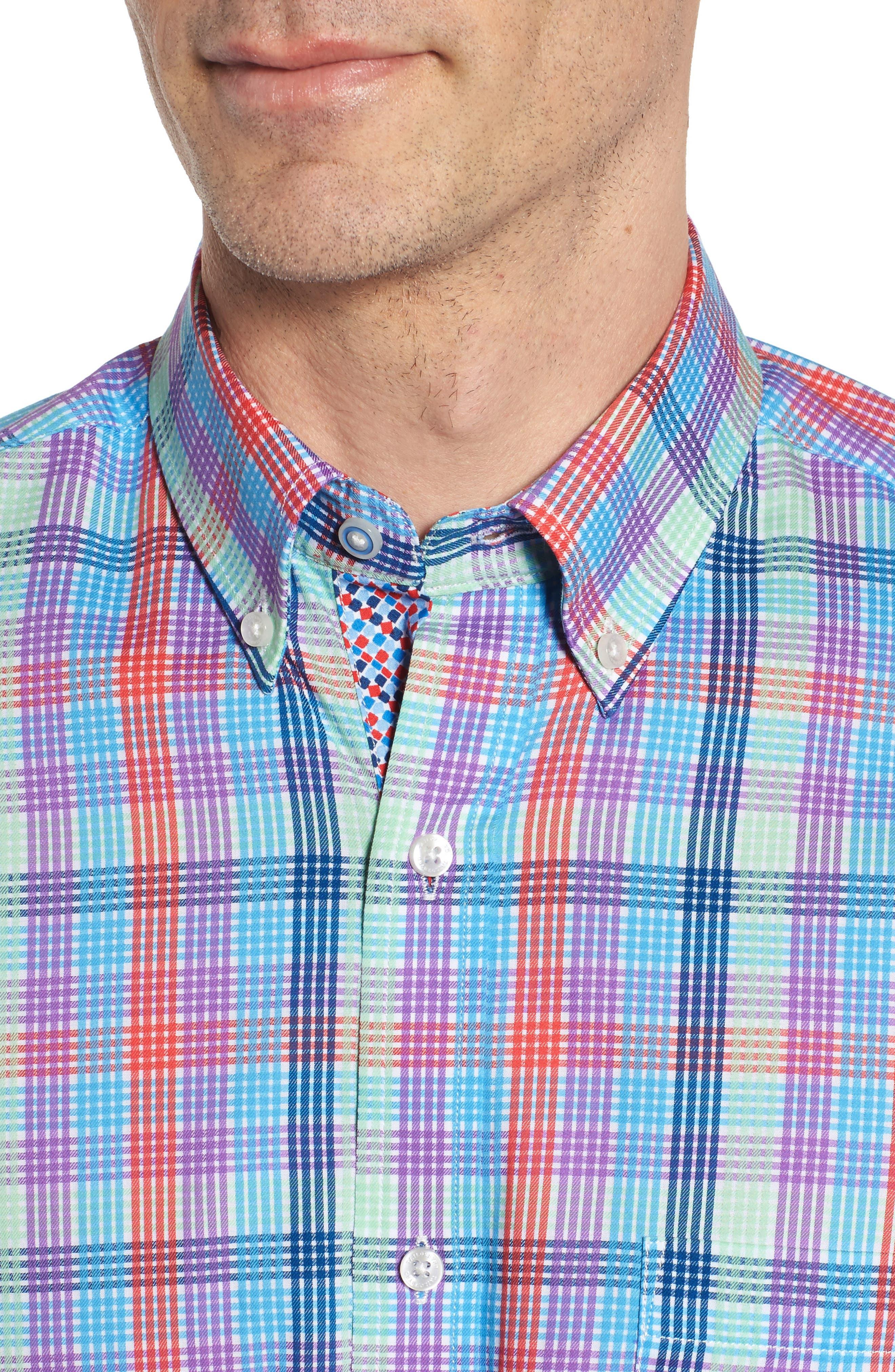 Slidell Regular Fit Check Sport Shirt,                             Alternate thumbnail 4, color,