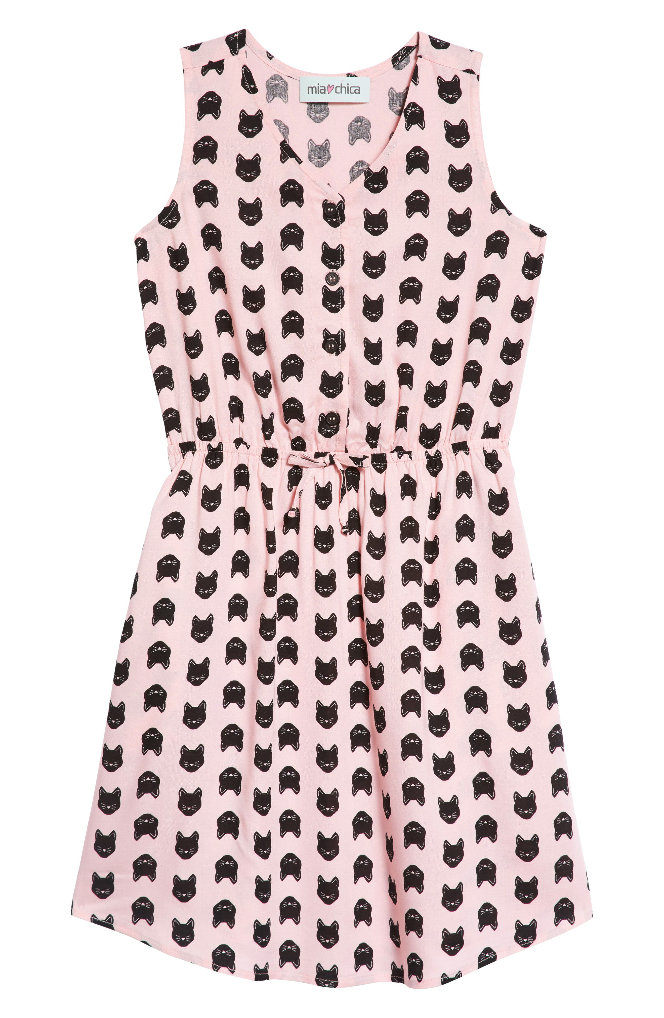 Cat Print Dress,                             Main thumbnail 1, color,                             PINK