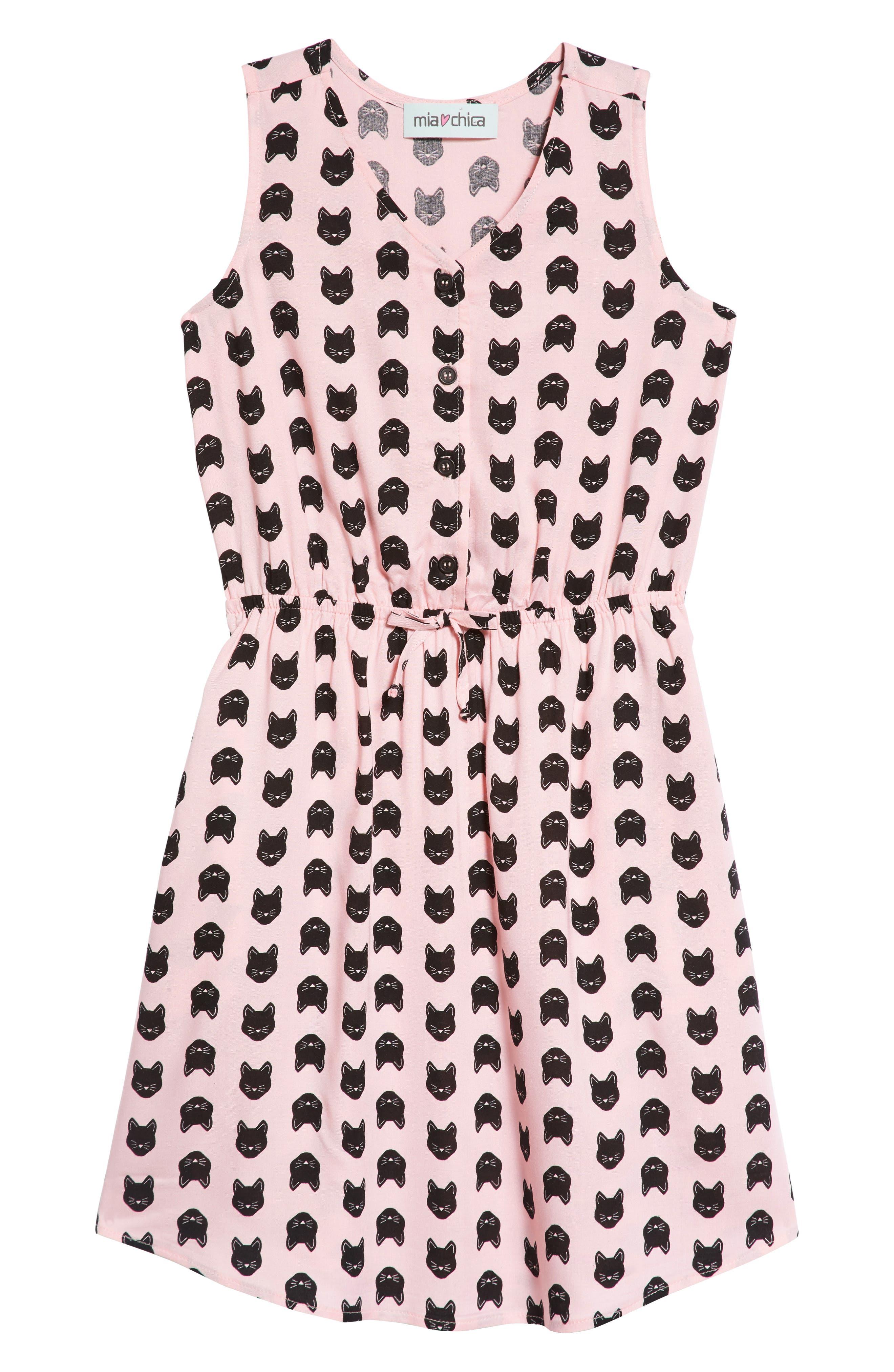 Cat Print Dress,                         Main,                         color, PINK