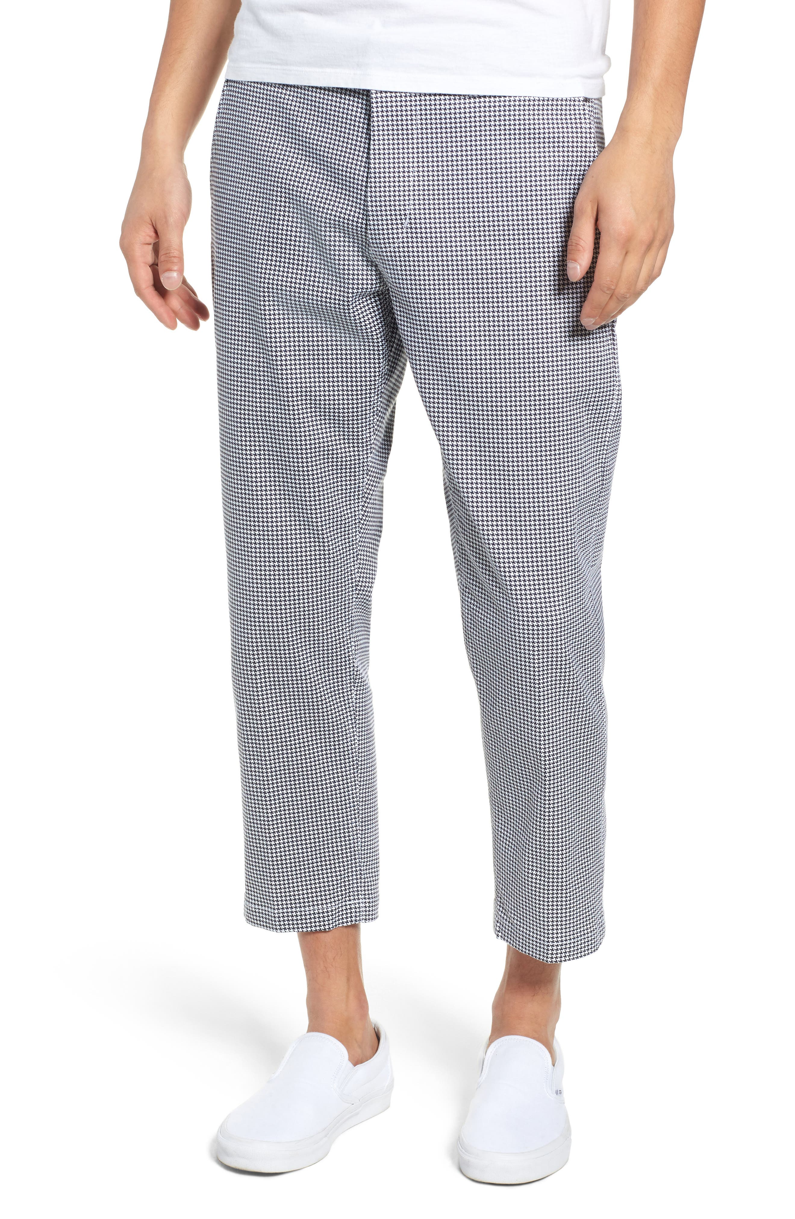 Relaxed Fit Houndstooth Cropped Pants,                         Main,                         color, WHITE MULTI
