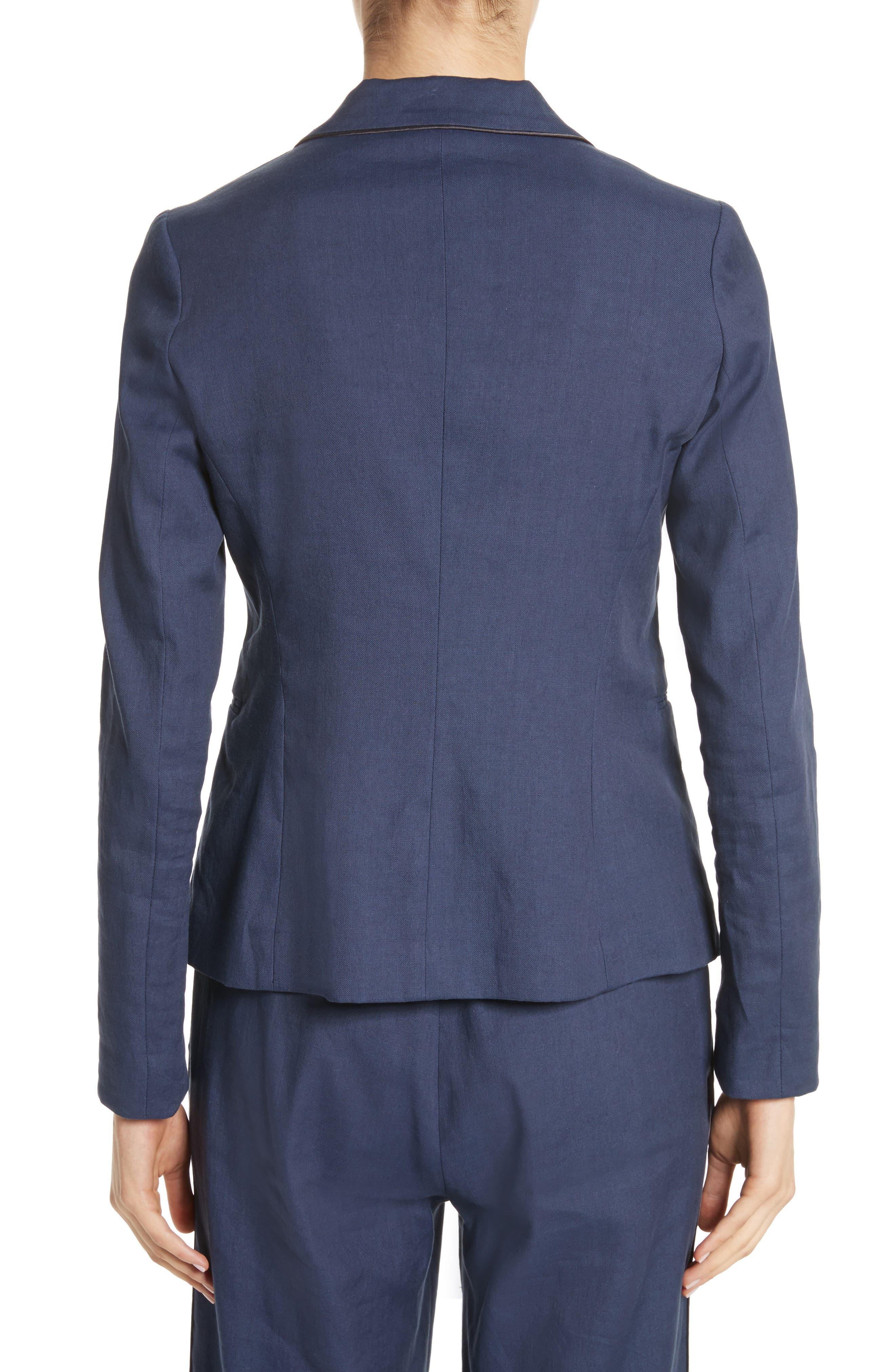 Piped Linen & Cotton Blend Blazer,                             Alternate thumbnail 2, color,