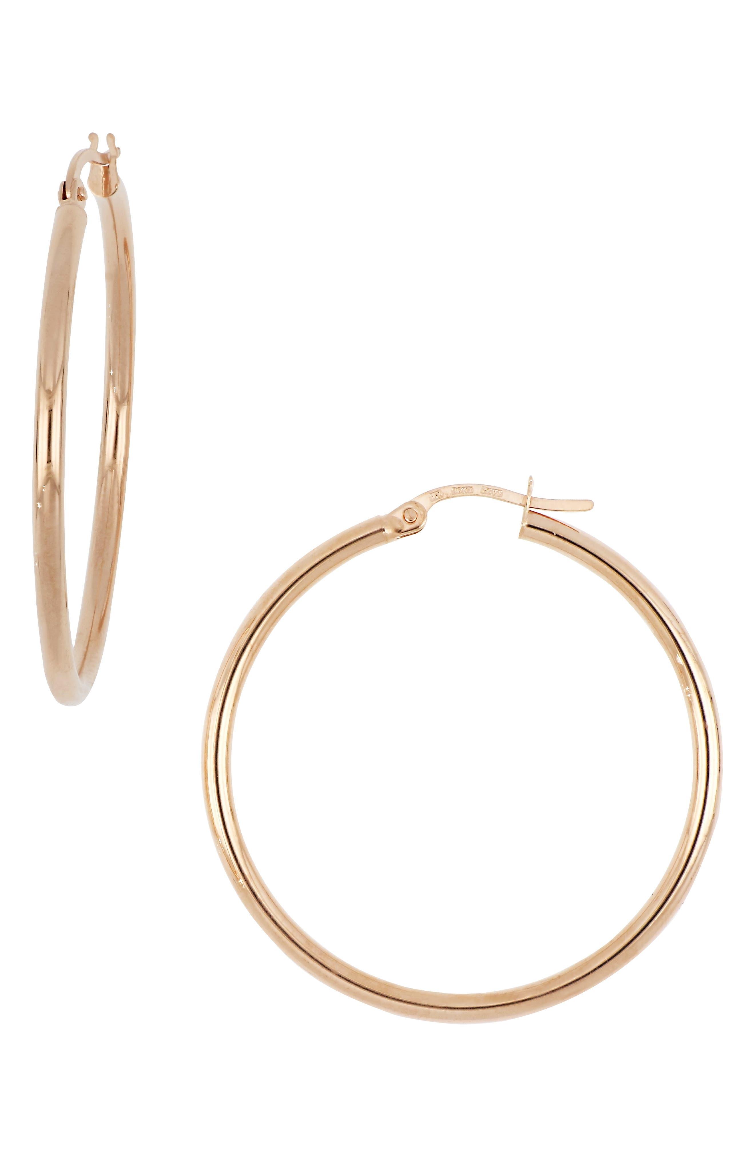14k Gold Hoop Earrings, 32mm, Main, color, ROSE GOLD