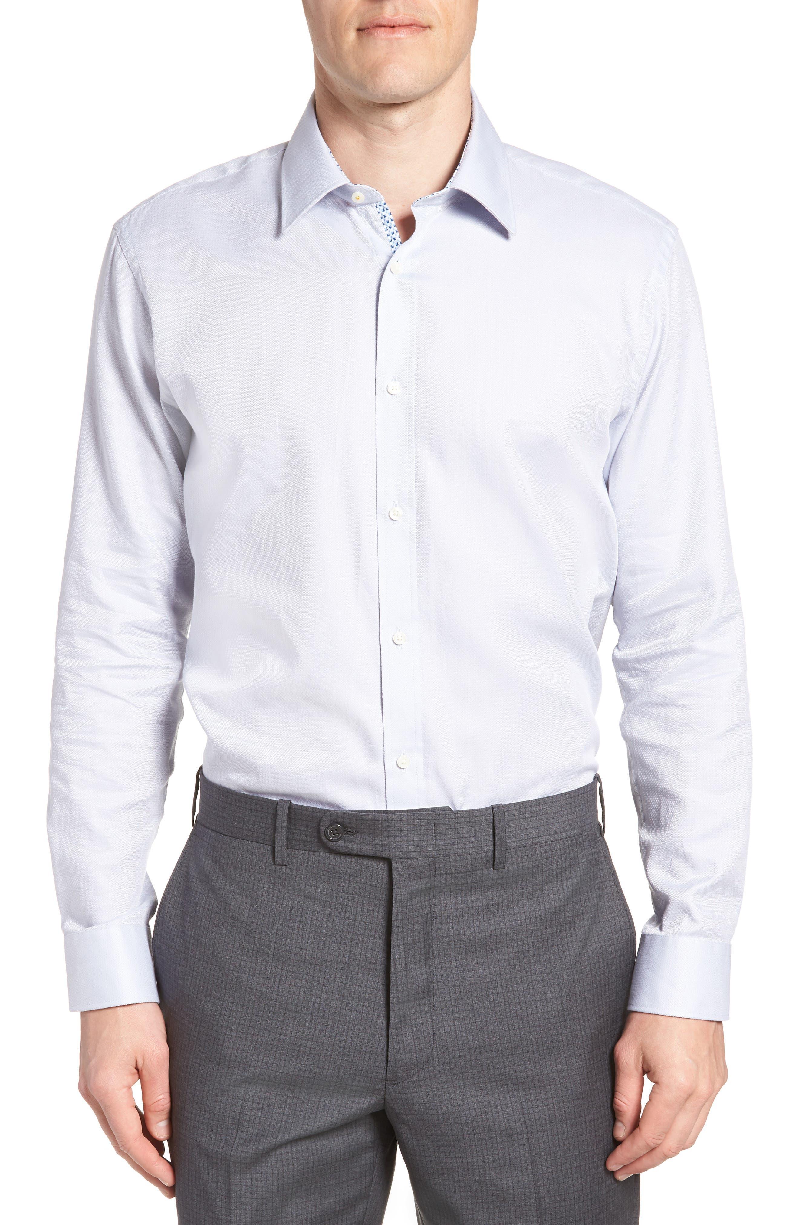 Ollyox Slim Fit Solid Dress Shirt,                         Main,                         color, GREY