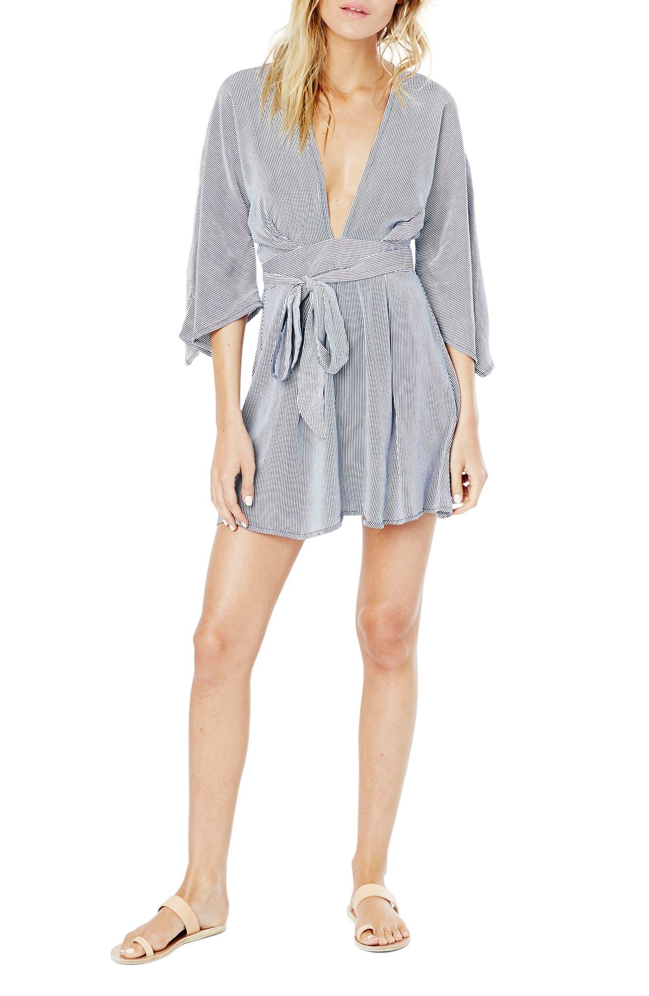 Nova Stripe Lace-Up Shirtdress,                             Alternate thumbnail 8, color,                             400