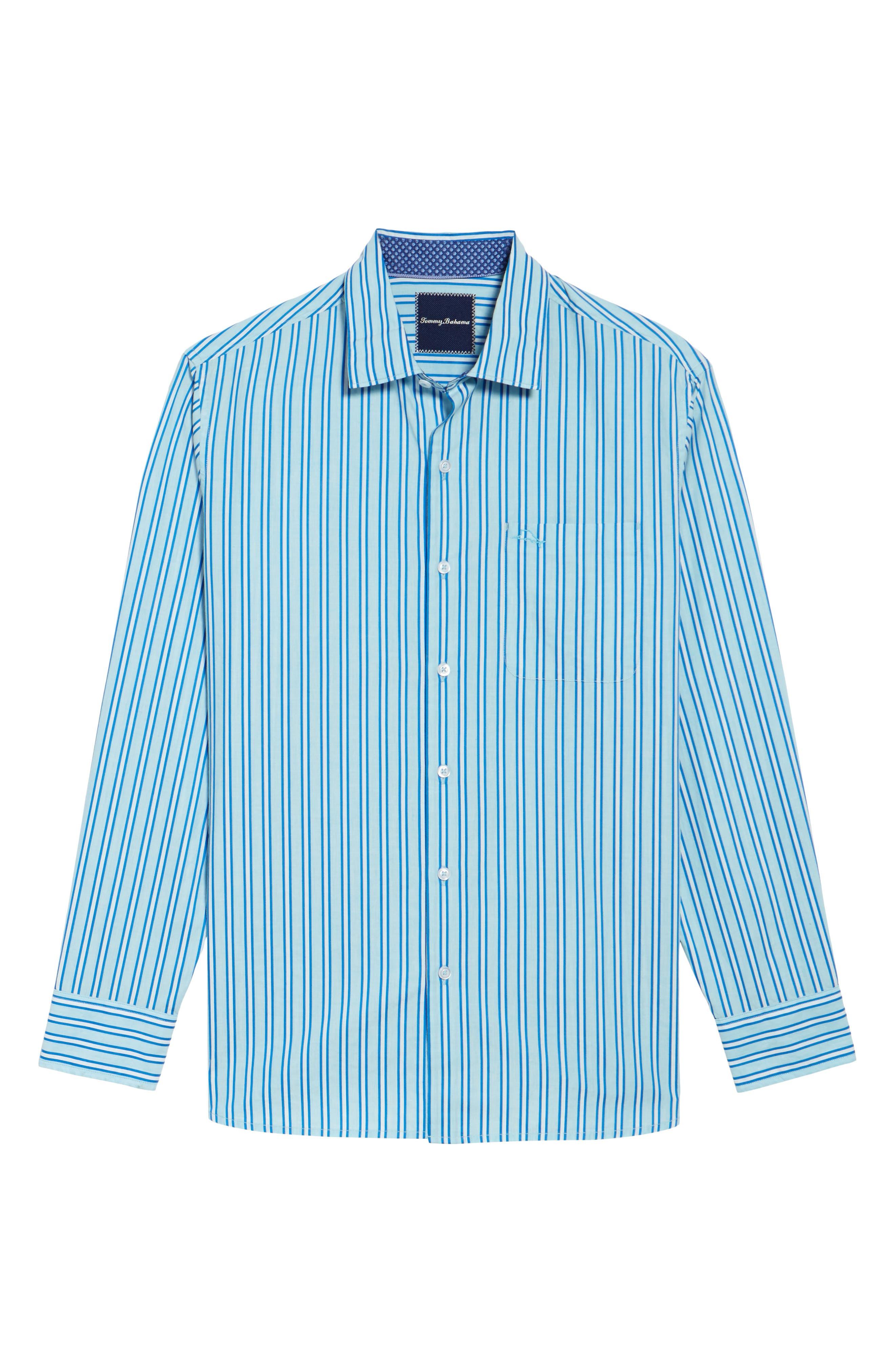 Surf the Line Stripe Sport Shirt,                             Alternate thumbnail 6, color,                             400